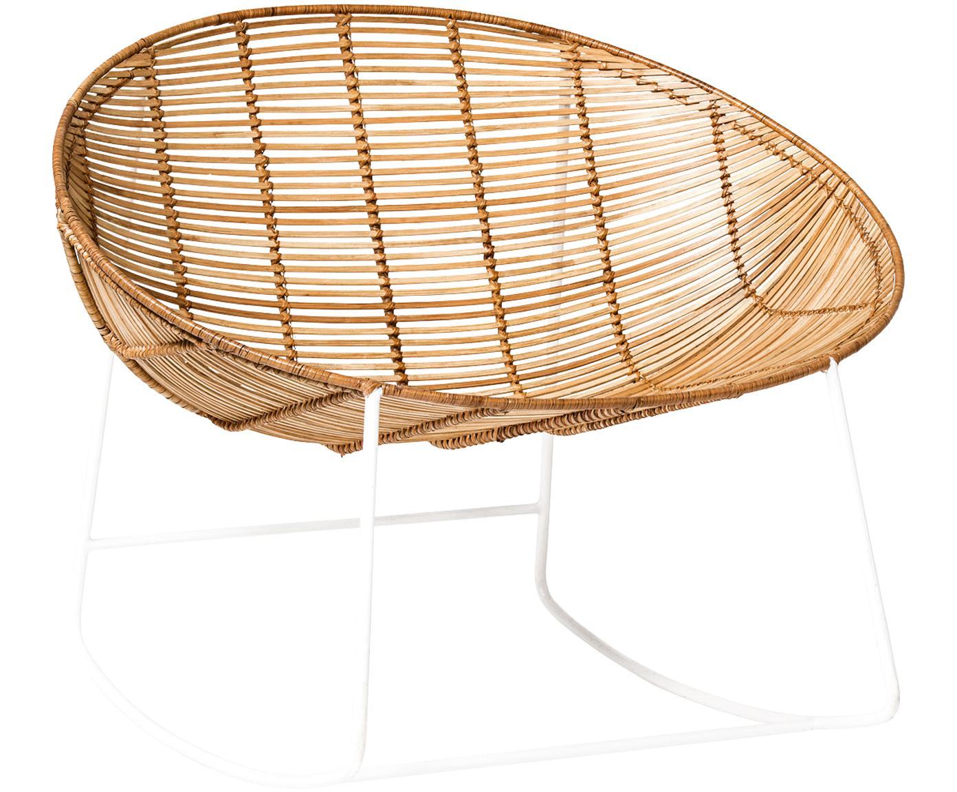 Fotel bujany  z rattanu Orinoco, Stelaż: metal, Siedzisko: rattan Stelaż: biały, S 92 x W 76 cm