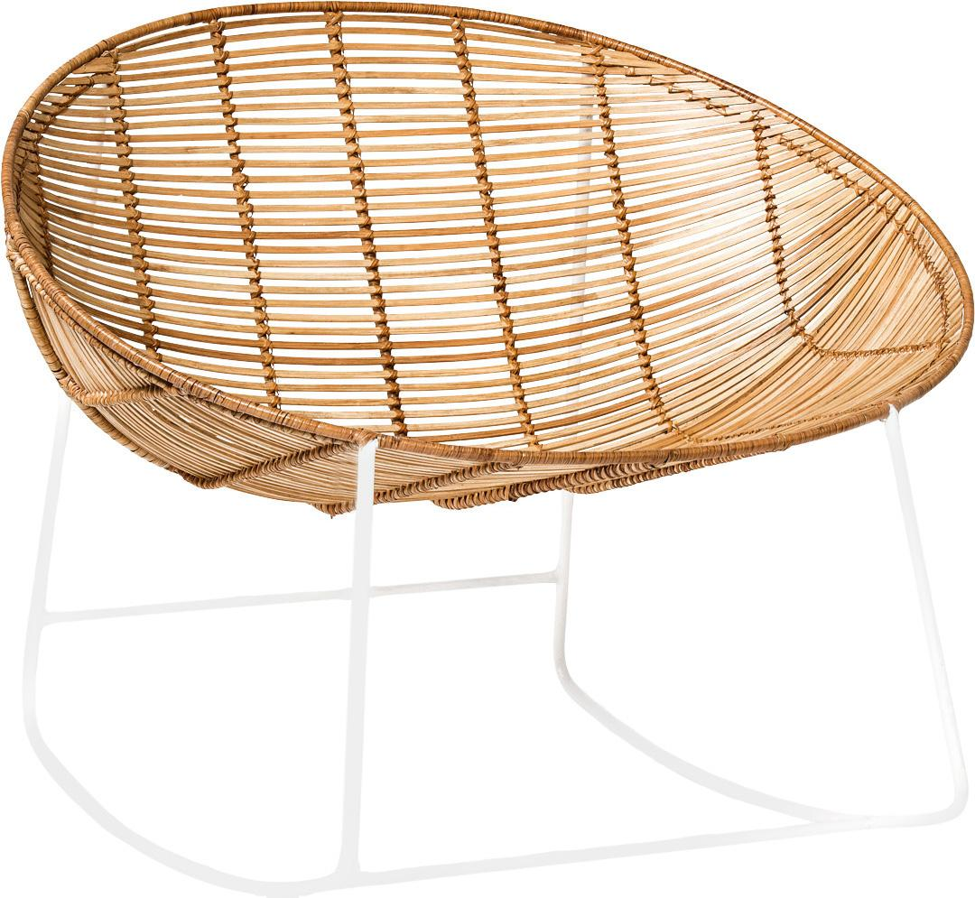 Sedia a dondolo Orinoco, Seduta: rattan, Cornice: metallo, Seduta: rattan<br>Struttura: bianco, L 92 x A 76 cm