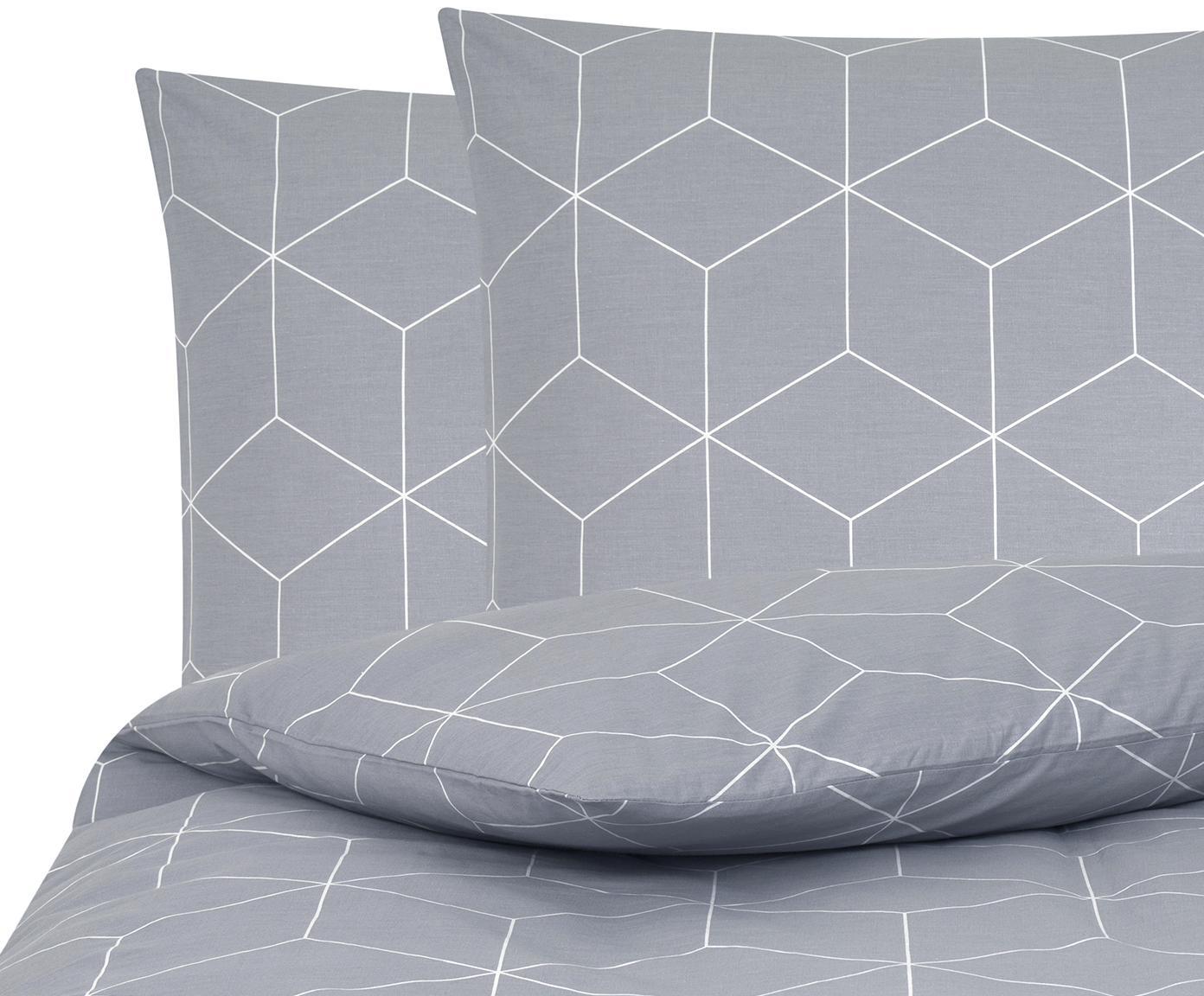 Baumwoll-Bettwäsche Lynn mit grafischem Muster, Webart: Renforcé Fadendichte 144 , Grau, Cremeweiß, 200 x 200 cm + 2 Kissen 80 x 80 cm