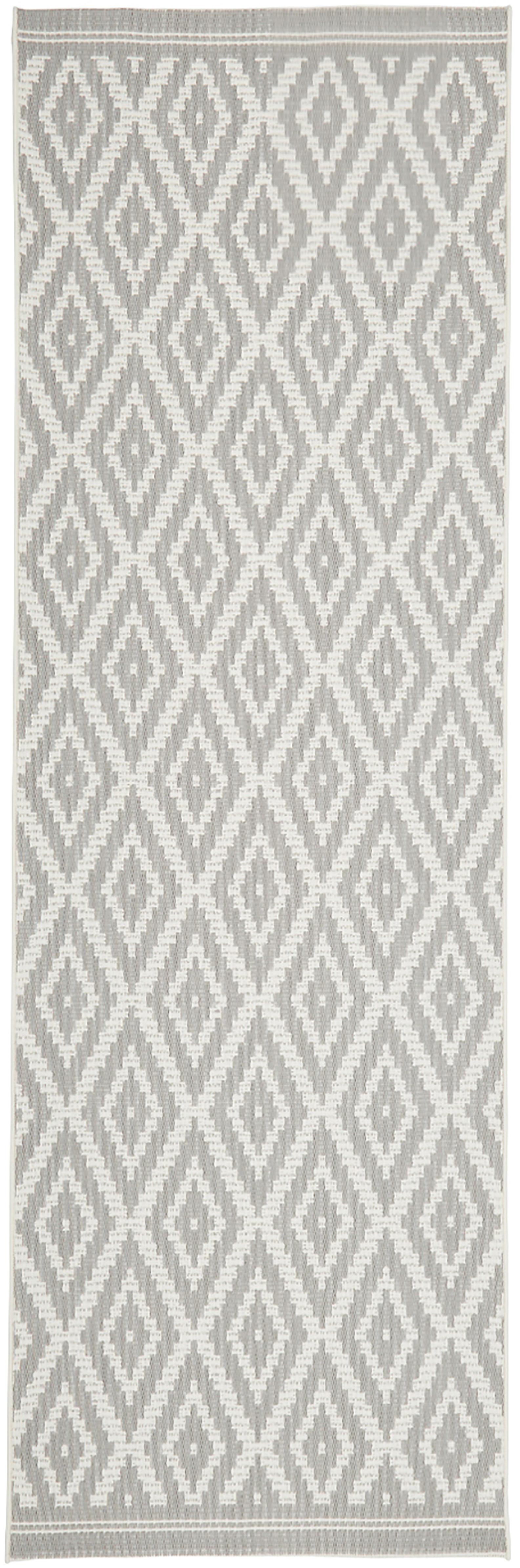 In- & outdoor loper met patroon Miami, Bovenzijde: polypropyleen, Onderzijde: polyester, Crèmewit, grijs, 80 x 250 cm