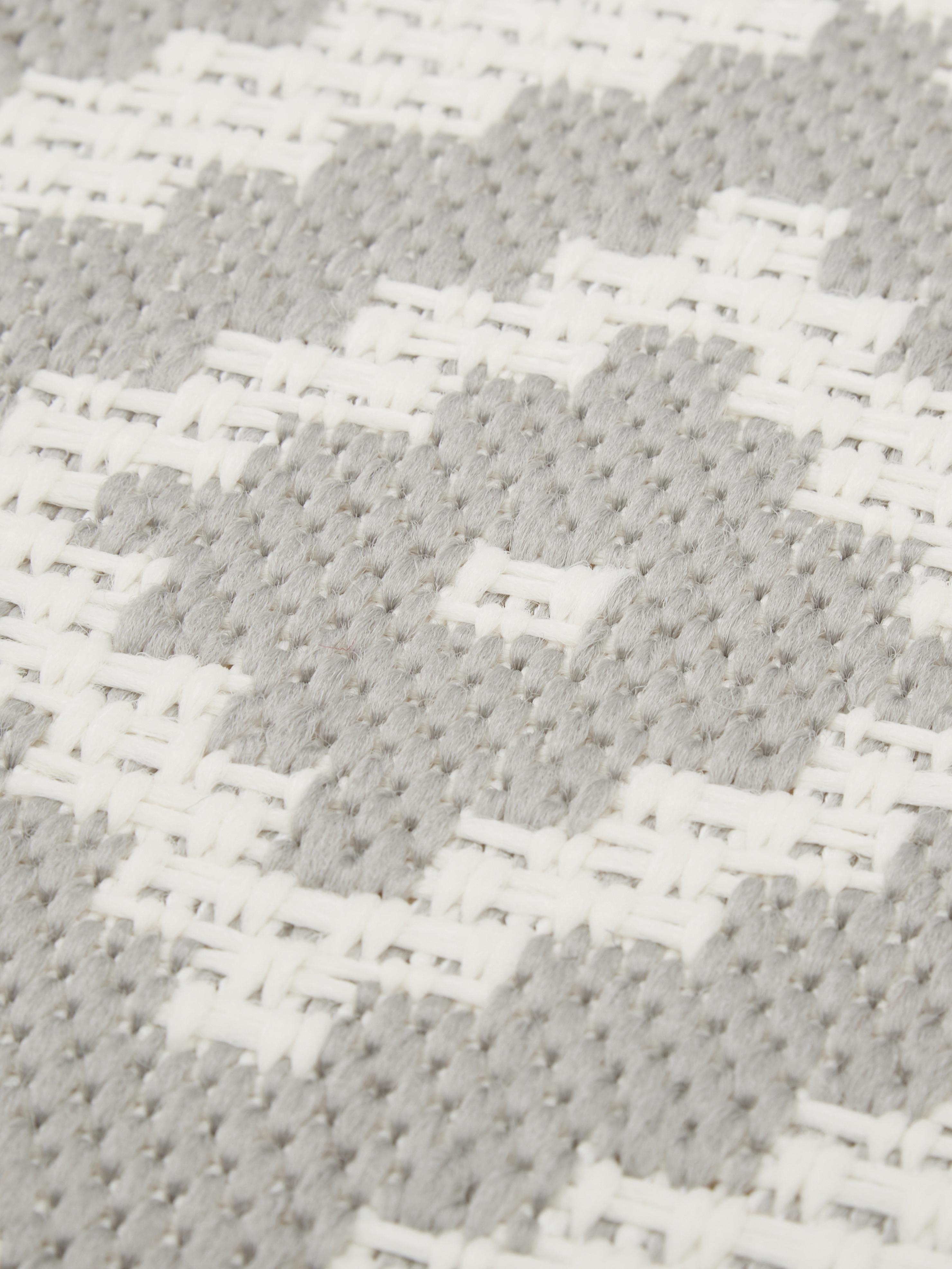 Passatoia da interno-esterno Miami, Retro: poliestere, Bianco crema, grigio, Larg. 80 x Lung. 250 cm