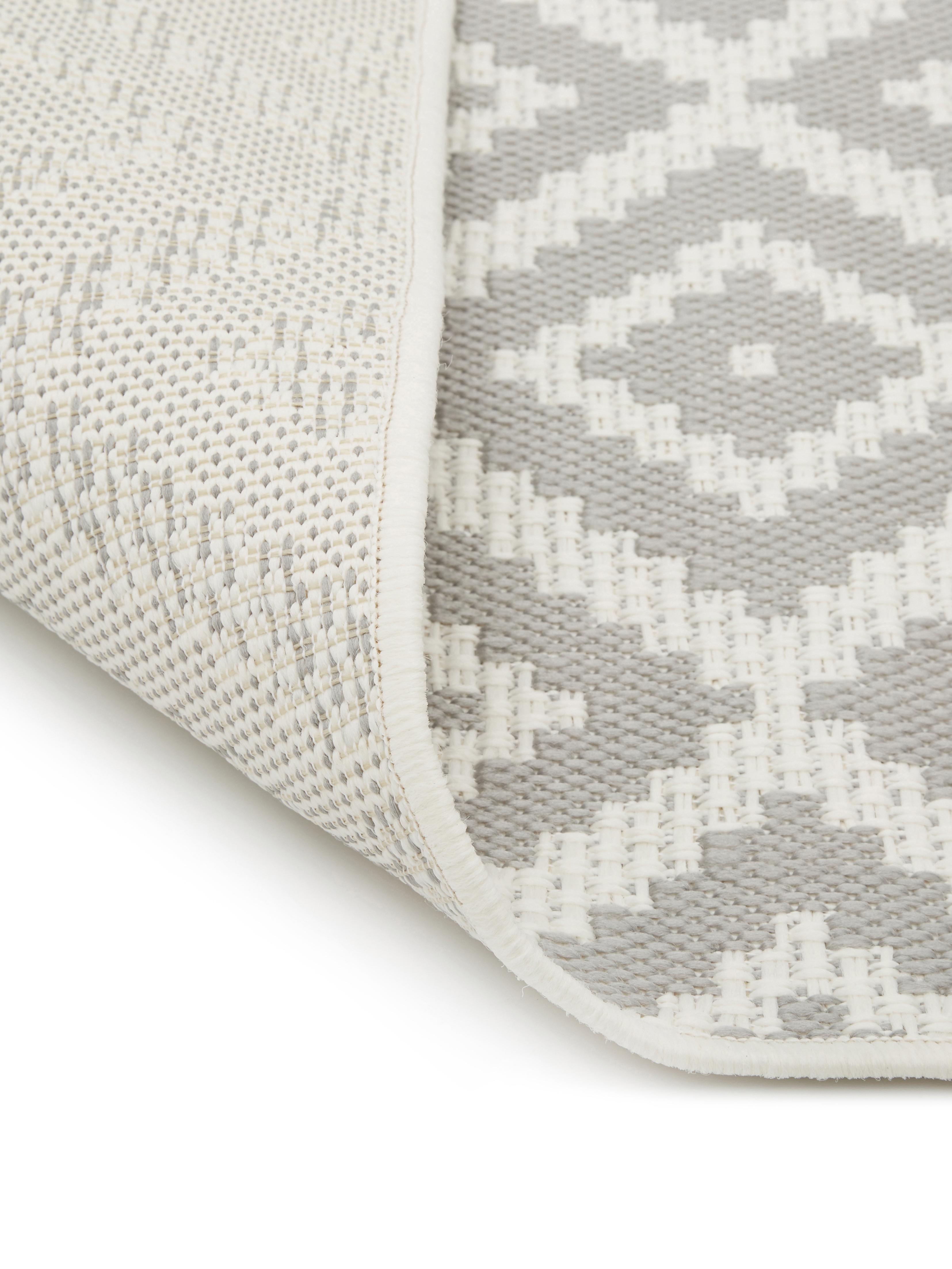 Gemusterter In- & Outdoor-Läufer Miami in Grau/Weiß, Flor: 100% Polypropylen, Cremeweiß, Grau, 80 x 250 cm