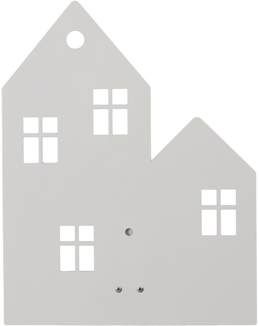 Wandleuchte Town House mit Stecker, Metall, pulverbeschichtet, Weiß, 24 x 35 cm