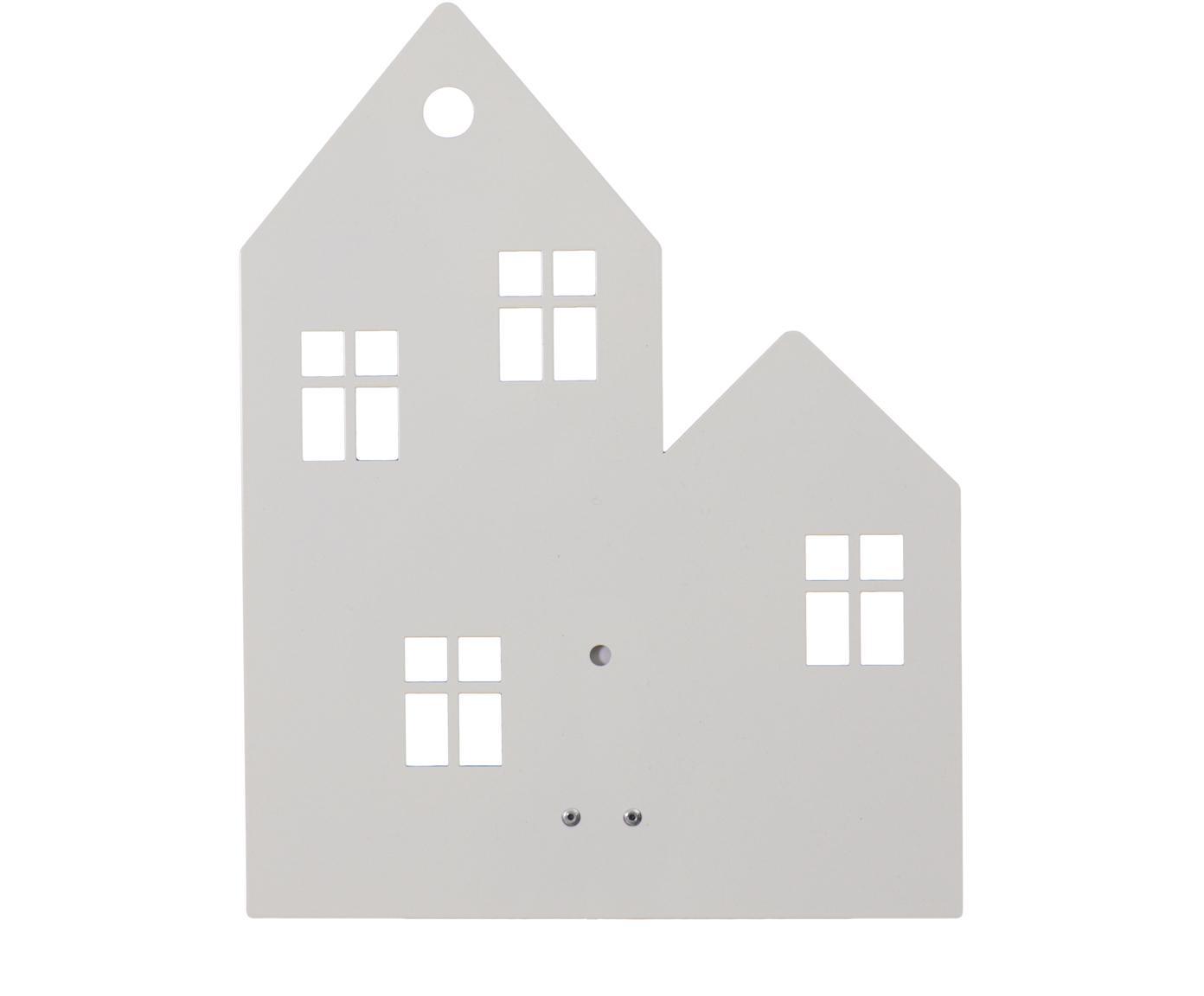 Wandlamp Town House met stekker, Gepoedercoat metaal, Wit, 24 x 35 cm