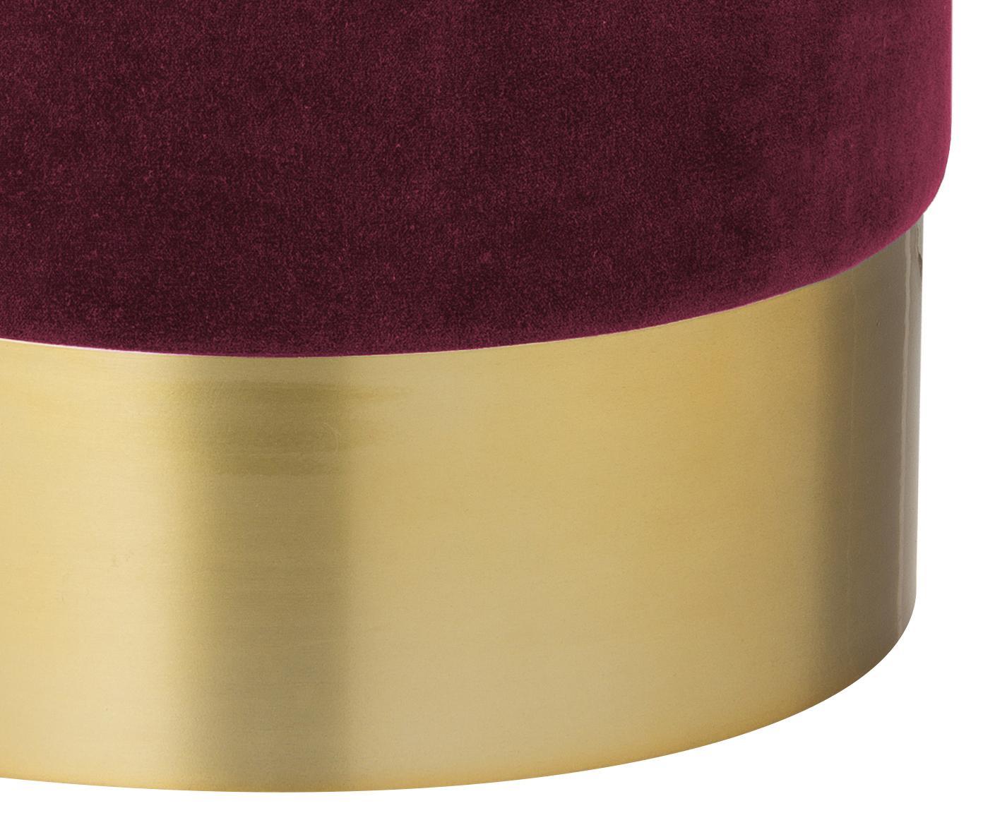 Samt-Hocker Harlow, Bezug: Baumwollsamt, Fuß: Eisen, pulverbeschichtet, Dunkelrot, Goldfarben, Ø 38 x H 42 cm