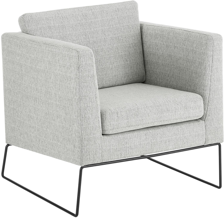 Klassischer Sessel Milo in Grau, Bezug: Hochwertiger Polyesterbez, Gestell: Kiefernholz, Beine: Metall, lackiert, Webstoff Grau, 77 x 75 cm