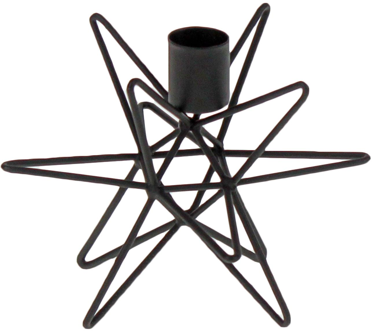 Candelabro Cosma, Metal pintado, Negro, Ø 15 x Al 11 cm