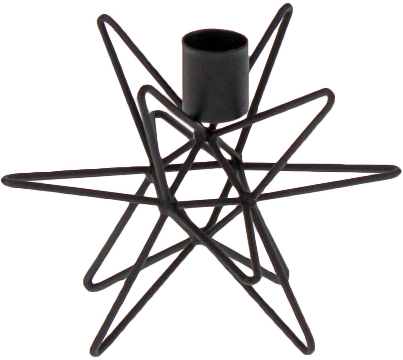 Kerzenhalter Cosma, Metall, lackiert, Schwarz, Ø 15 x H 11 cm
