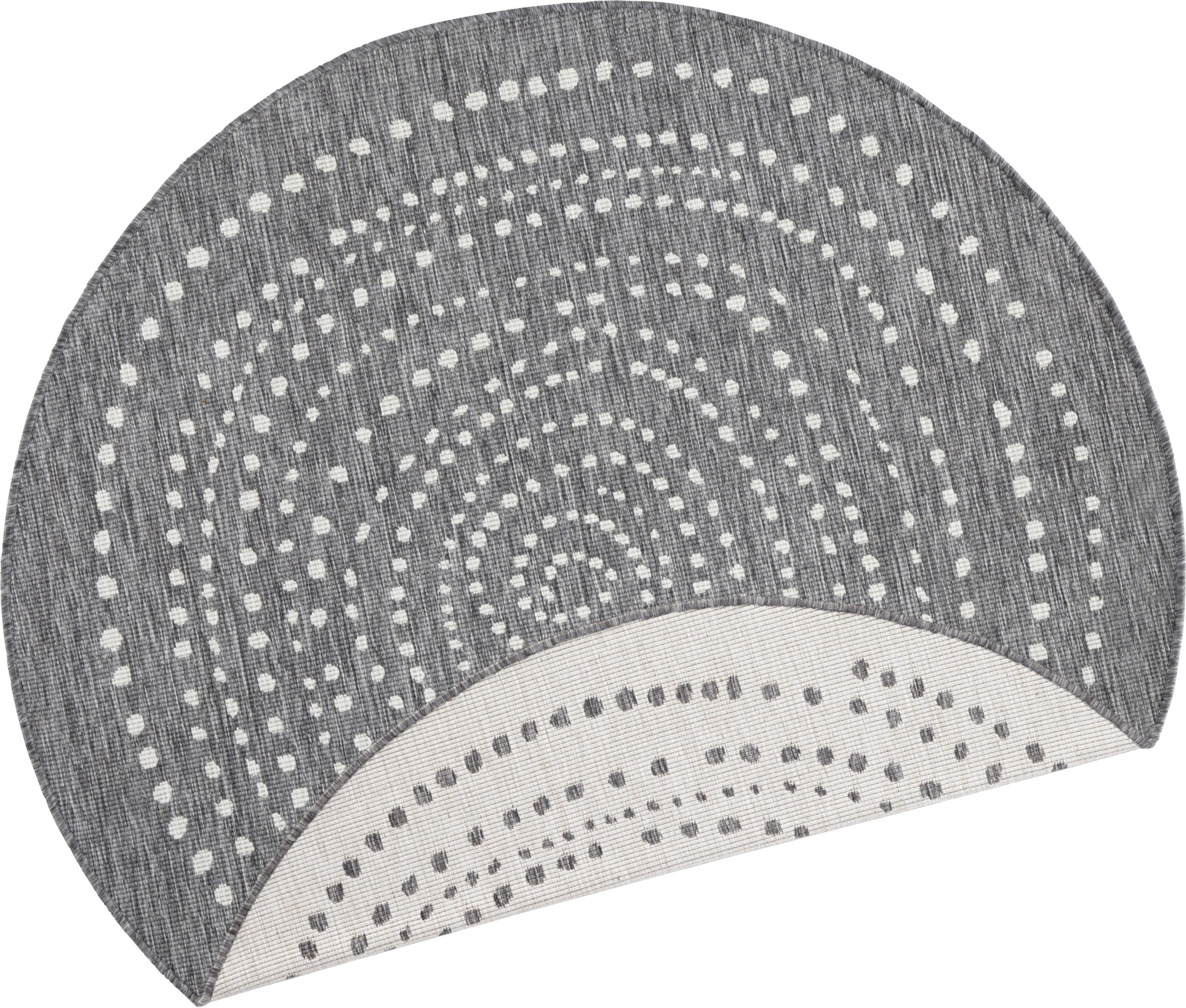 Alfombra redonda reversible de interior/exterior Bali, Gris, crema, Ø 200 cm (Tamaño L)