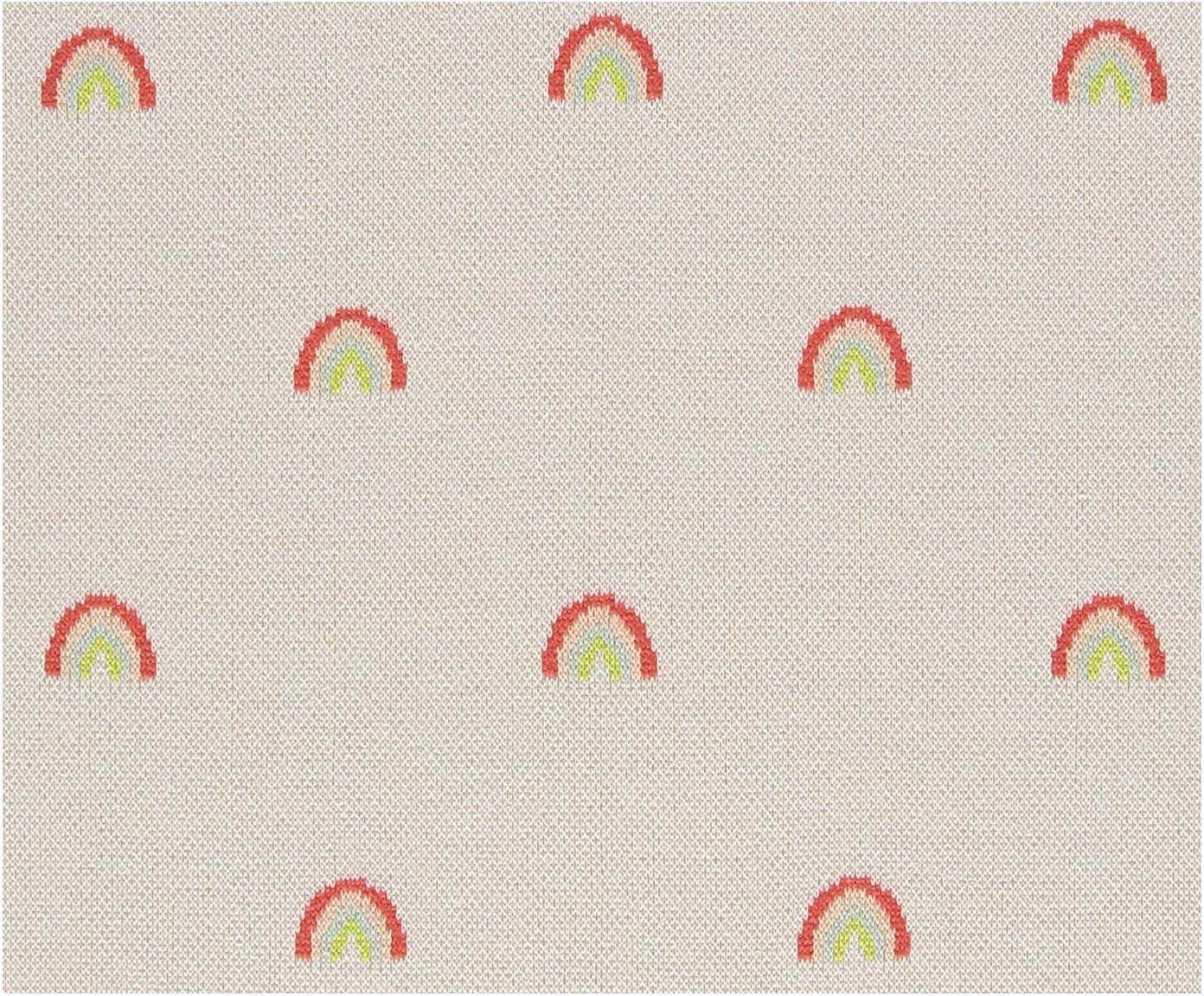 Plaid Rainbow aus Bio-Baumwolle, Bio-Baumwolle, Hellbeige, Orange, Blau, Rot, Gelb, 76 x 100 cm