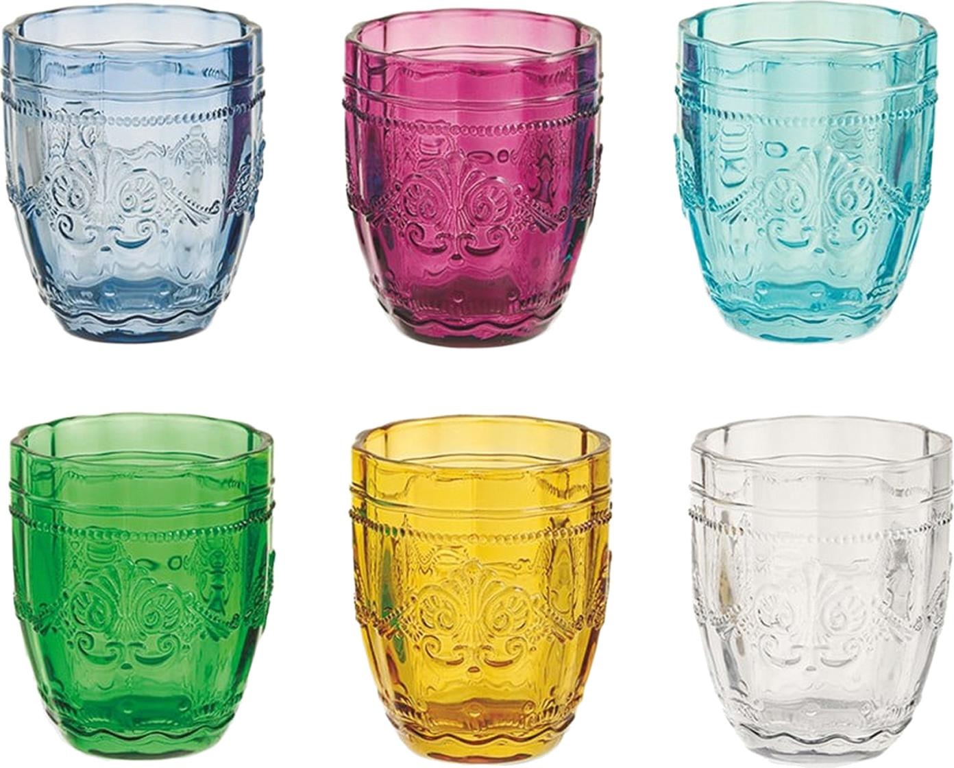 Wassergläser Syrah mit Strukturmuster in Bunt, 6er-Set, Glas, Mehrfarbig, Ø 8 x H 10 cm