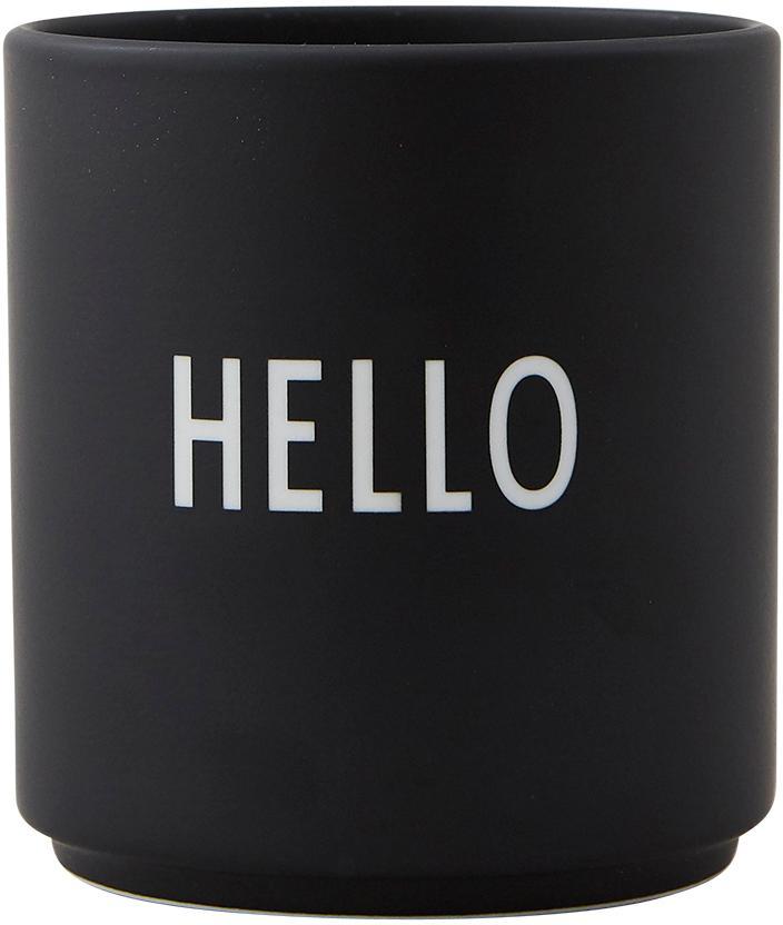 Design beker Favourite HELLO met opschrift in zwart, Fine Bone China, porselein, Zwart, wit, Ø 8 x H 9 cm