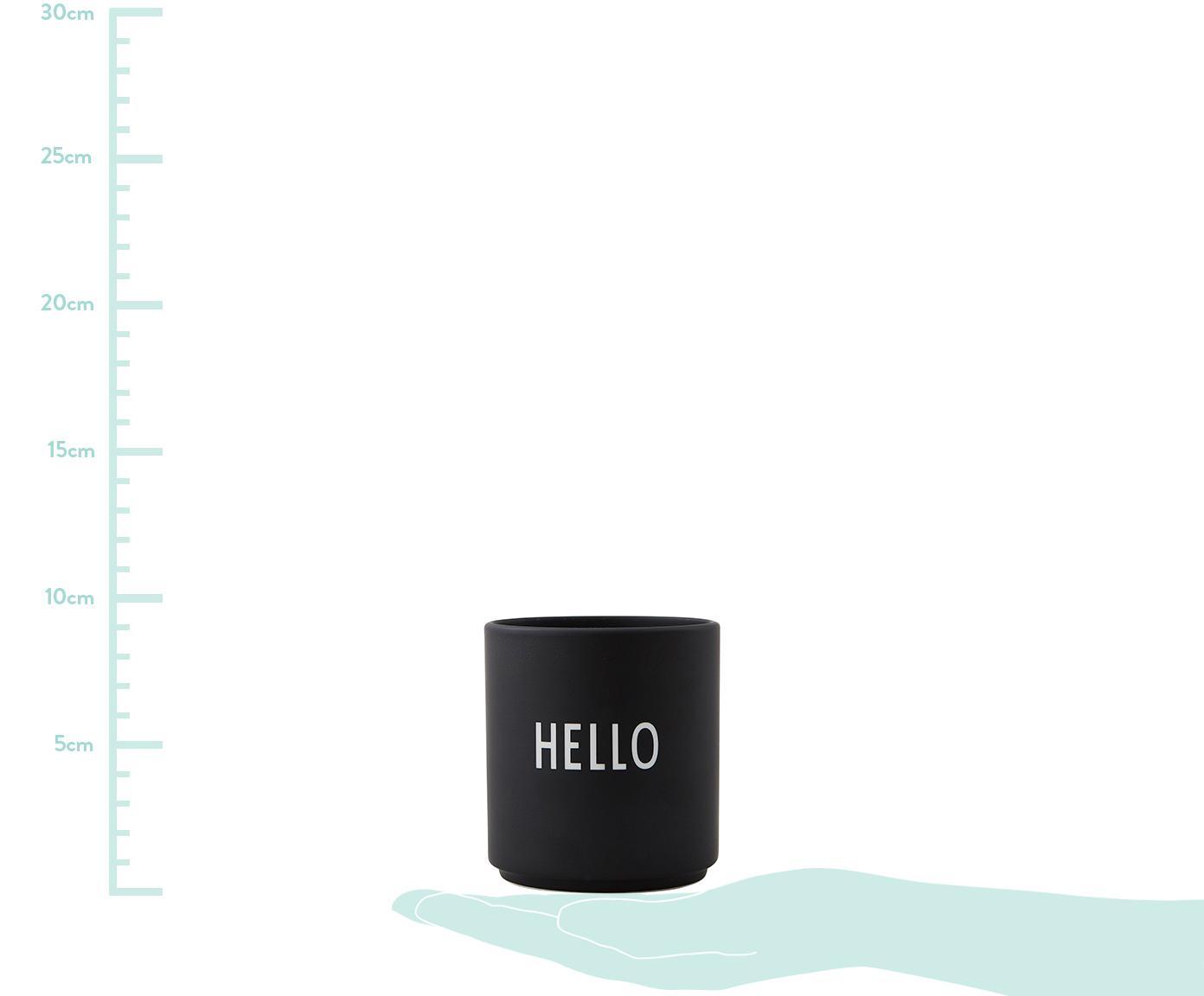 Design Becher Favourite HELLO in Schwarz mit Schriftzug, Fine Bone China (Porzellan), Schwarz, Weiß, Ø 8 x H 9 cm