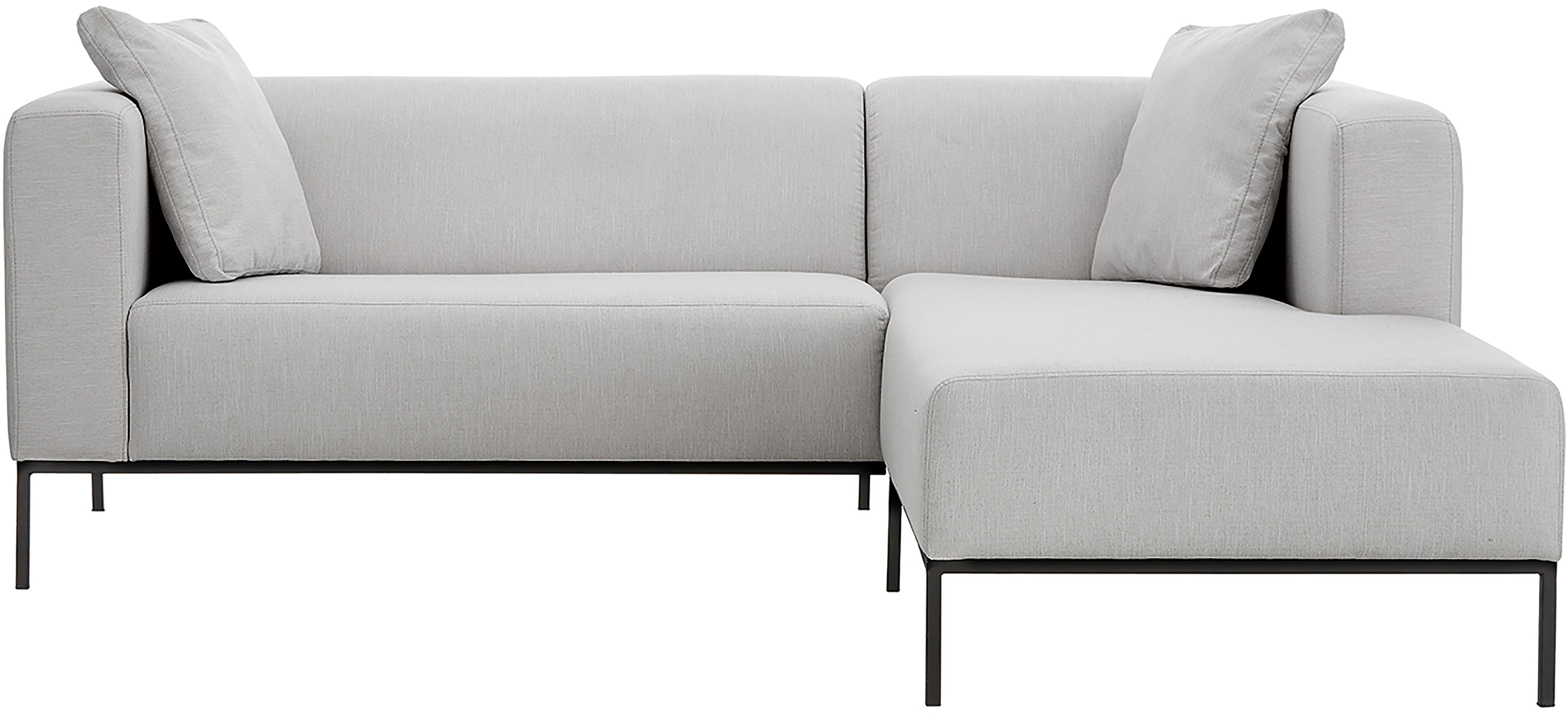 Ecksofa Carrie, Bezug: Polyester 50.000 Scheuert, Gestell: Spanholz, Hartfaserplatte, Webstoff Grau, B 222 x T 180 cm