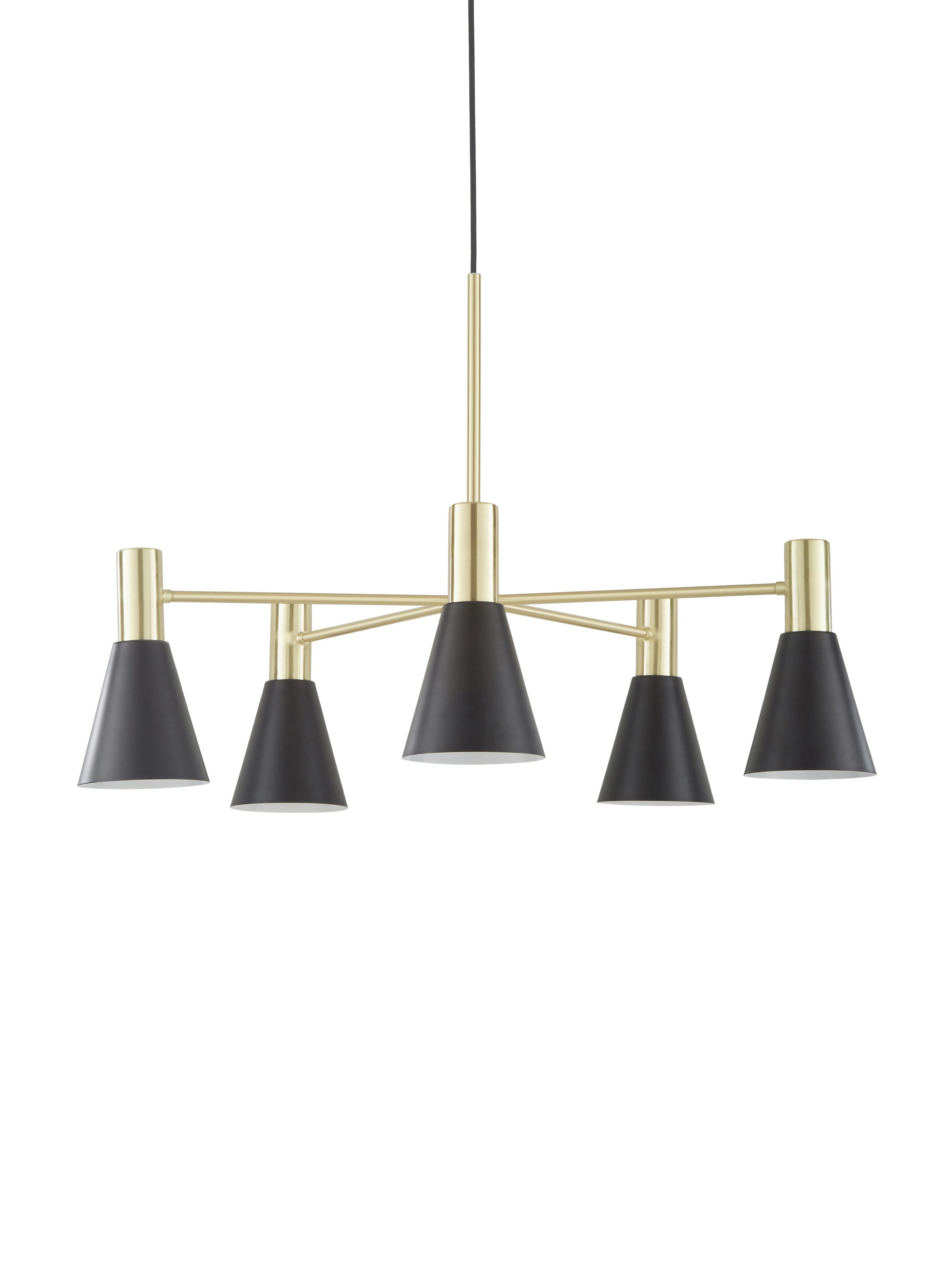 Hanglamp Sia, Lampenkappen: mat zwart. Baldakijn en lampframe: geborsteld messingkleurig, Ø 75 cm