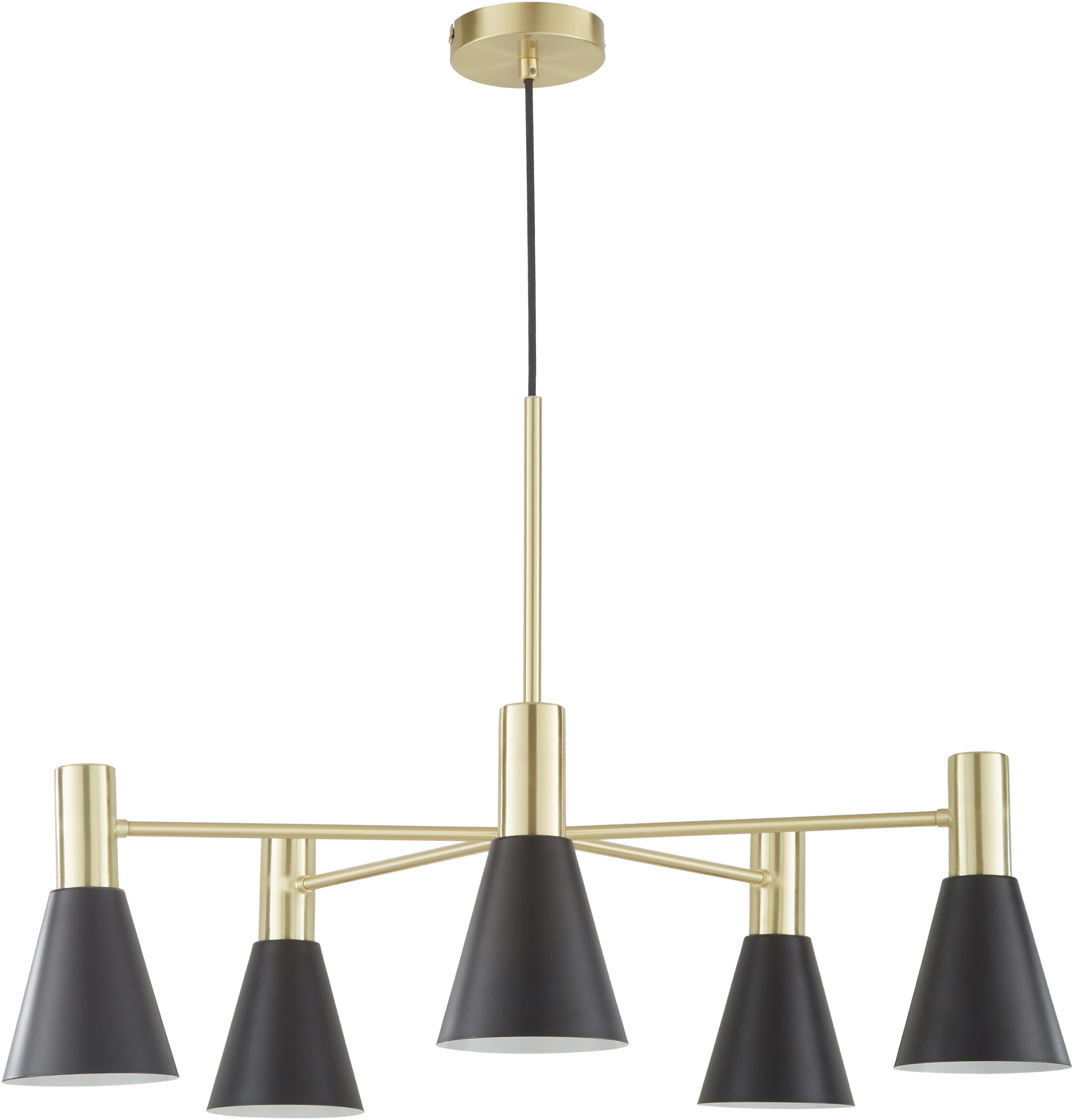 Pendelleuchte Sia, Lampenschirme:Schwarz, mattBaldachin und Lampengestell:Messing, gebürstet, Ø 75 cm