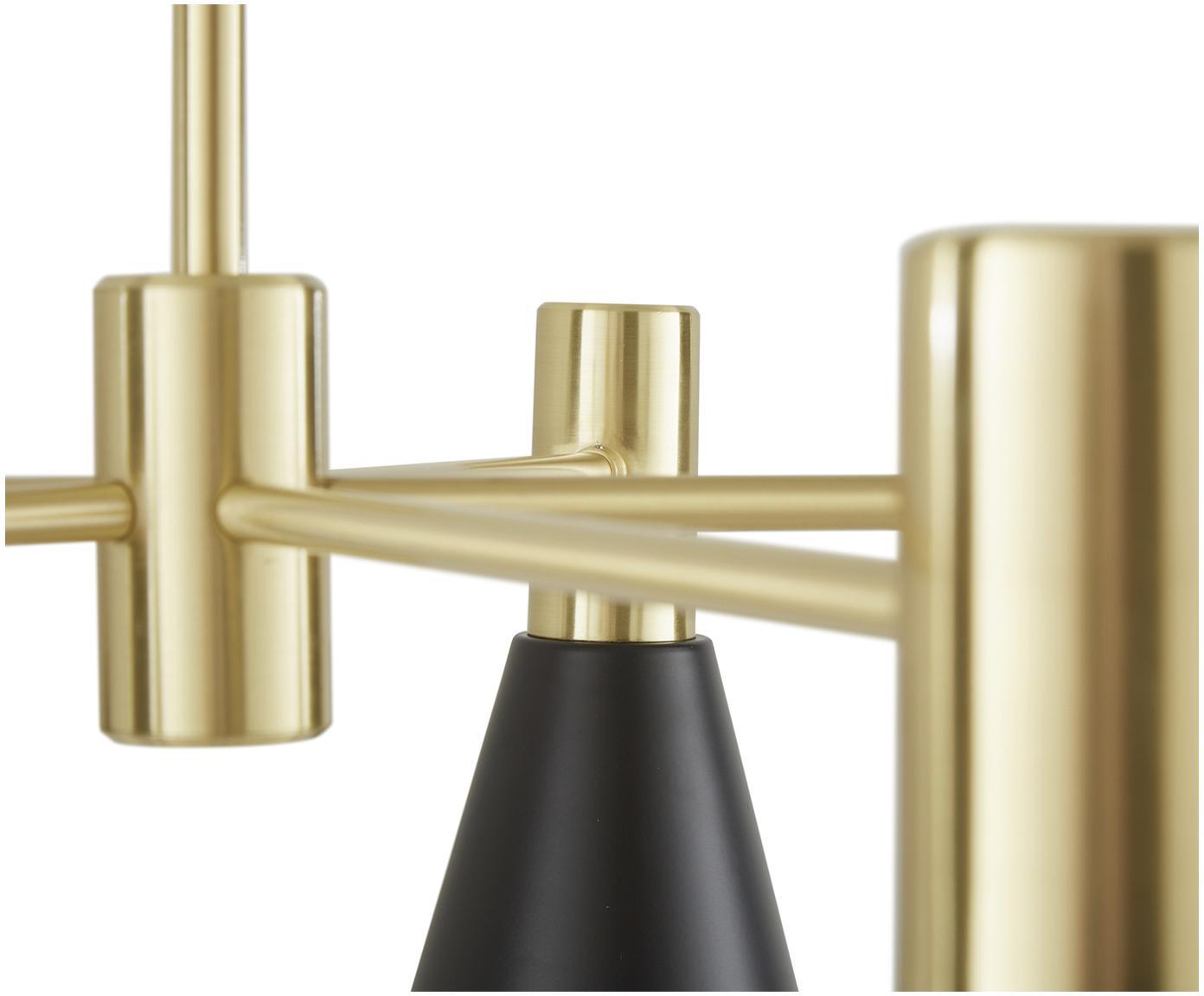 Lampa wisząca Sia, Klosz: czarny, matowy Osłona mocowania sufitowego i stelaż lampy: mosiądz szczot, Ø 75 cm