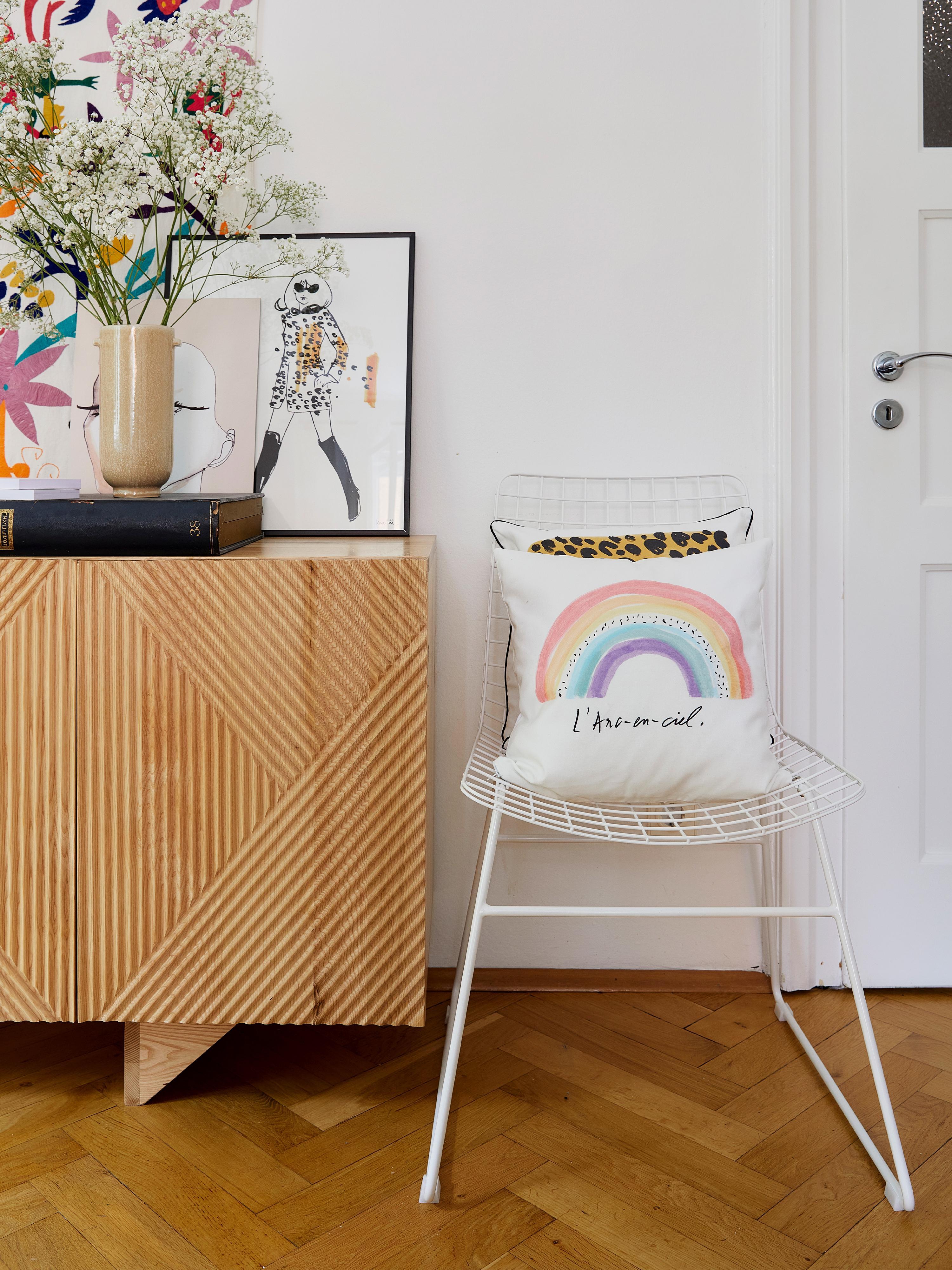 Designer Kissenhülle Rainbow von Kera Till, 100% Baumwolle, Weiß, Mehrfarbig, 40 x 40 cm