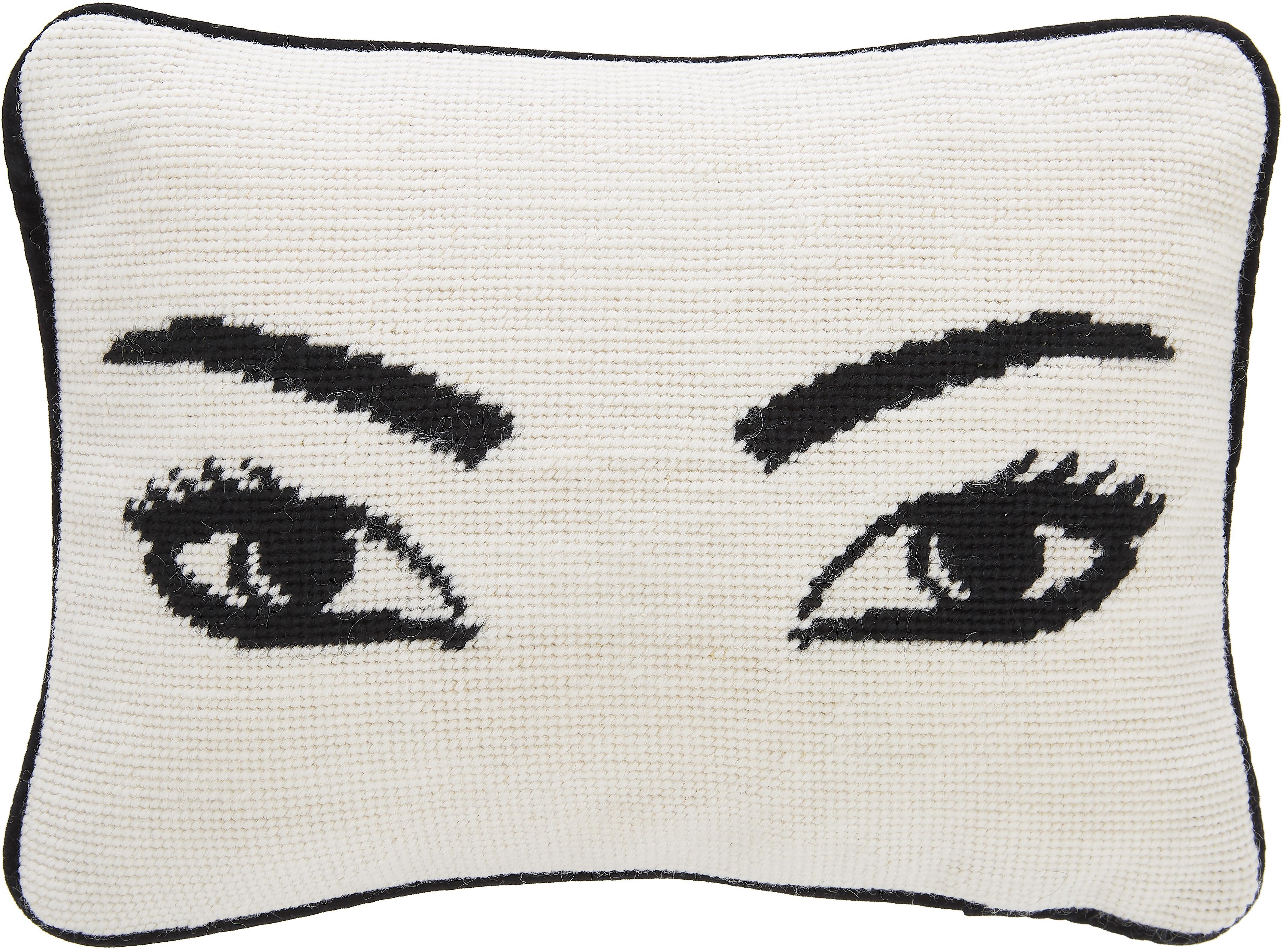 Cojín pequeño de diseño bordado a mano Eyes, con relleno, Parte delantera: lana, Parte trasera: terciopelo de algodón, Blanco, negro, An 23 x L 30 cm