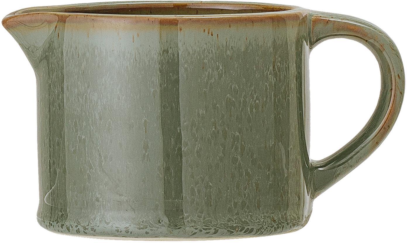 Ręcznie wykonany dzbanek do mleka Pixie, Kamionka, Zielony, odcienie brązowego, Ø 9 x W 7 cm