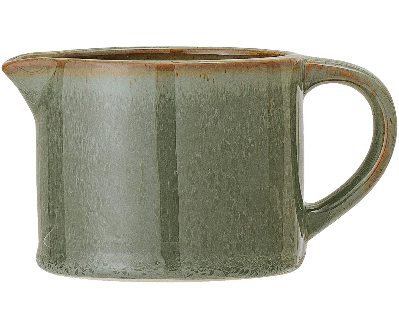 Lechera artesanal Pixie, Gres, Verde, tonos marrones, Ø 9 x Al 7 cm