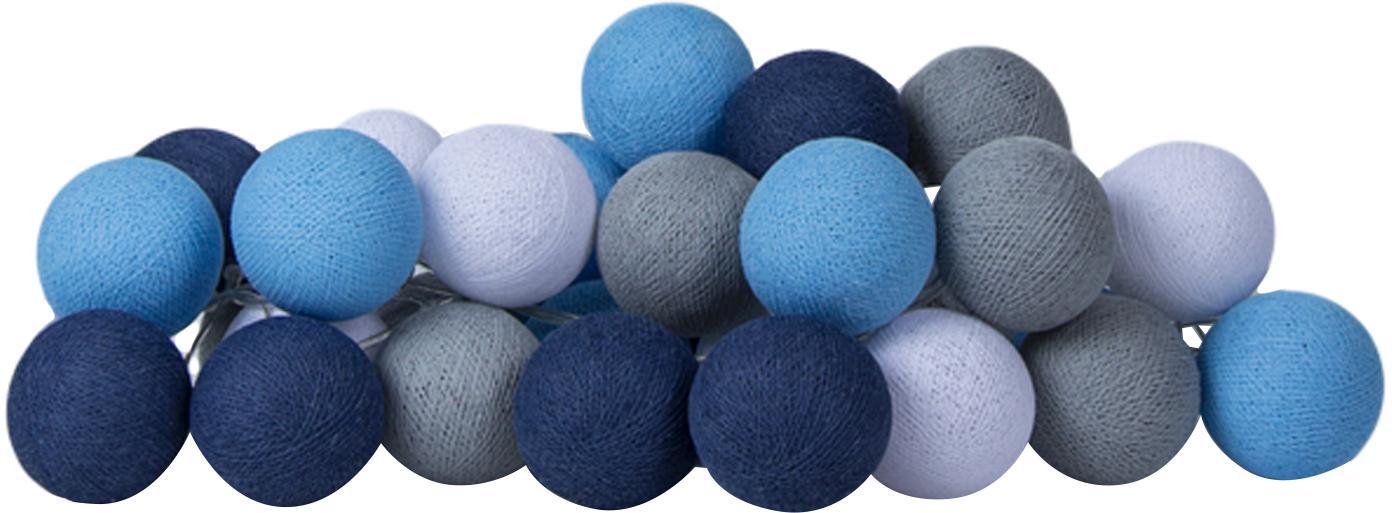 LED Lichterkette Colorain, Lampions: Polyester, Blautöne, Grau, Weiss, L 264 cm