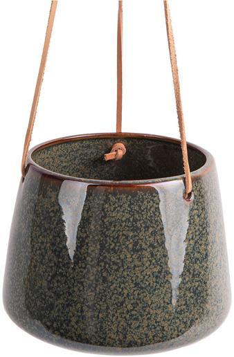 Wisząca osłonka na doniczkę  Unique, Ceramika, Odcienie zielonego, Ø 17 x W 13 cm