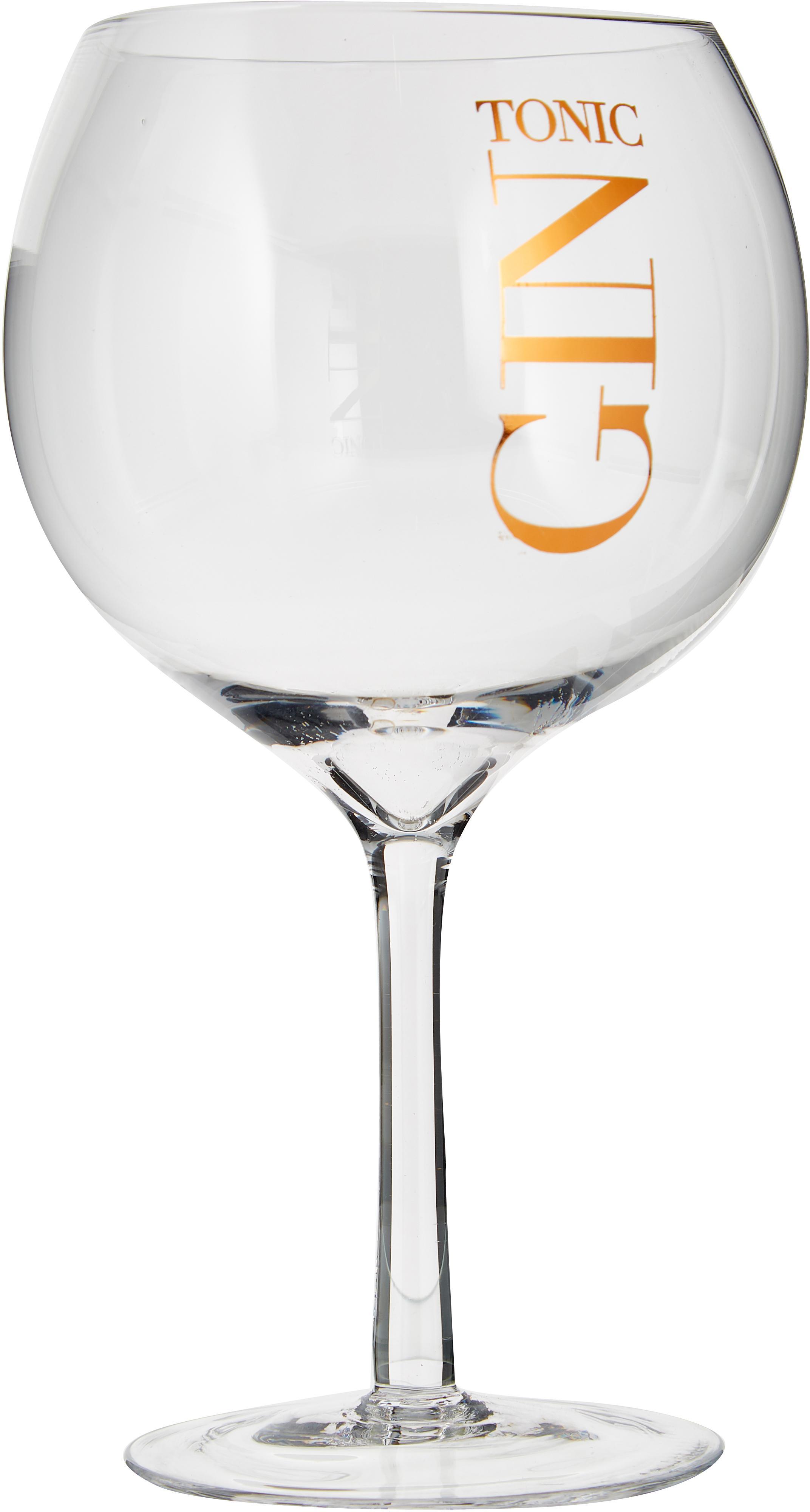 Gin Tonic Gläser mit Aufschrift, 6 Stück, Glas, Transparent, Kupferfarben, Ø 12 x H 22 cm