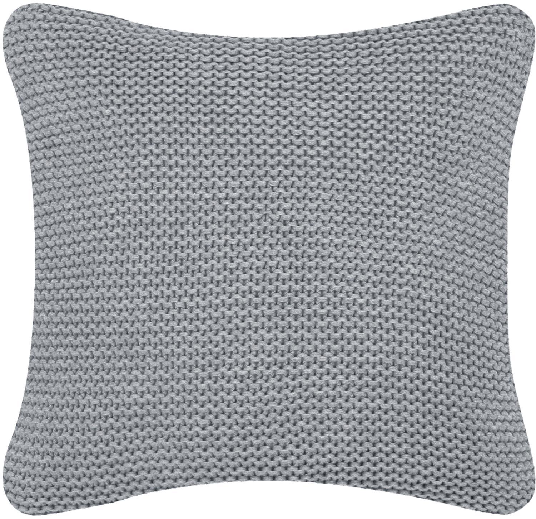 Federa arredo fatta a maglia grigio chiaro Adalyn, 100% cotone, Grigio chiaro, Larg. 40 x Lung. 40 cm