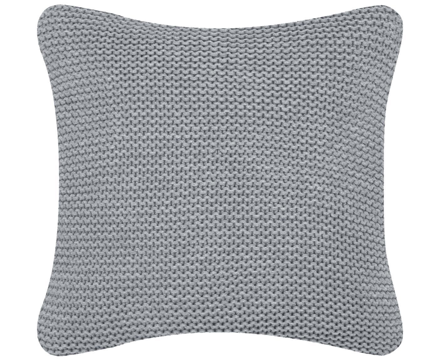 Strick-Kissenhülle Adalyn in Hellgrau, 100% Baumwolle, Hellgrau, 40 x 40 cm