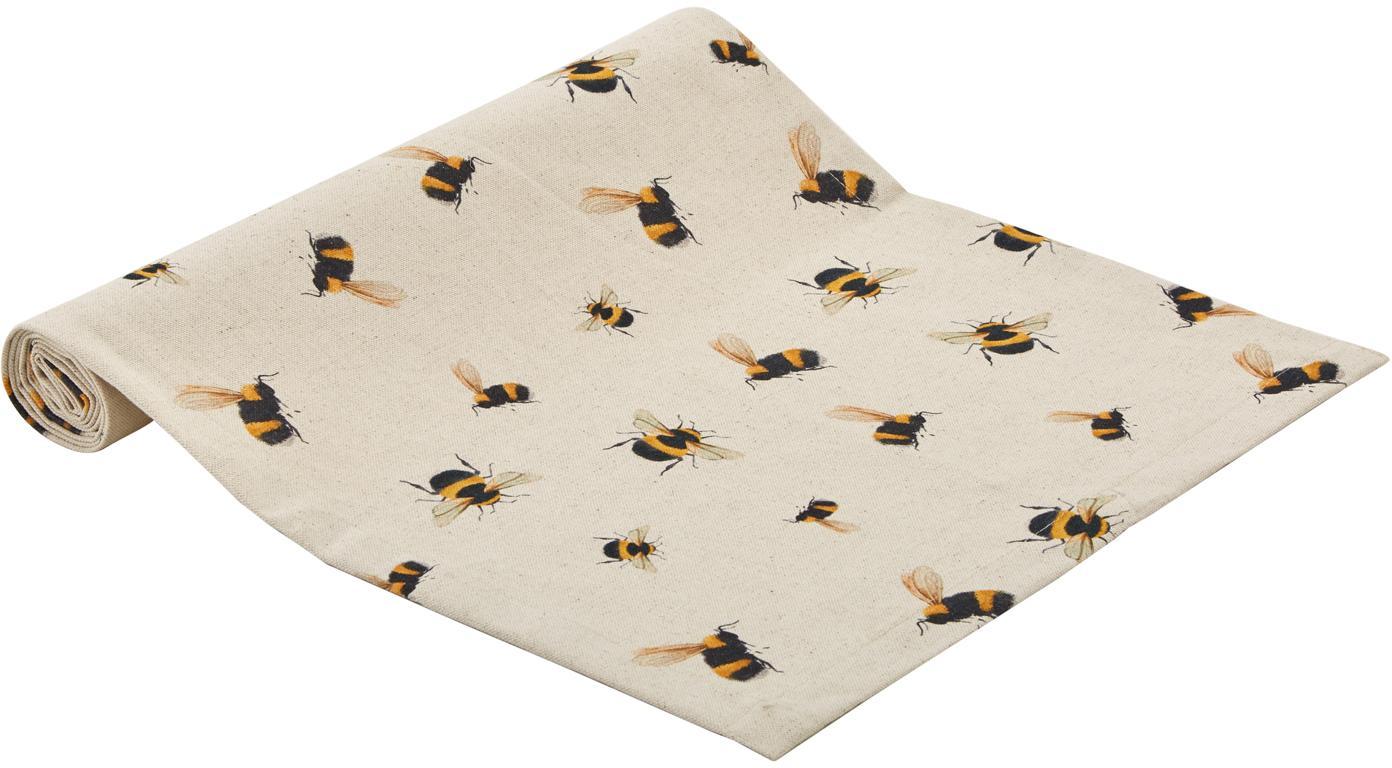 Tischläufer Bonnie mit Bienenmuster, 85% Baumwolle, 15% Leinen, Beige, Gelb, Schwarz, 40 x 145 cm