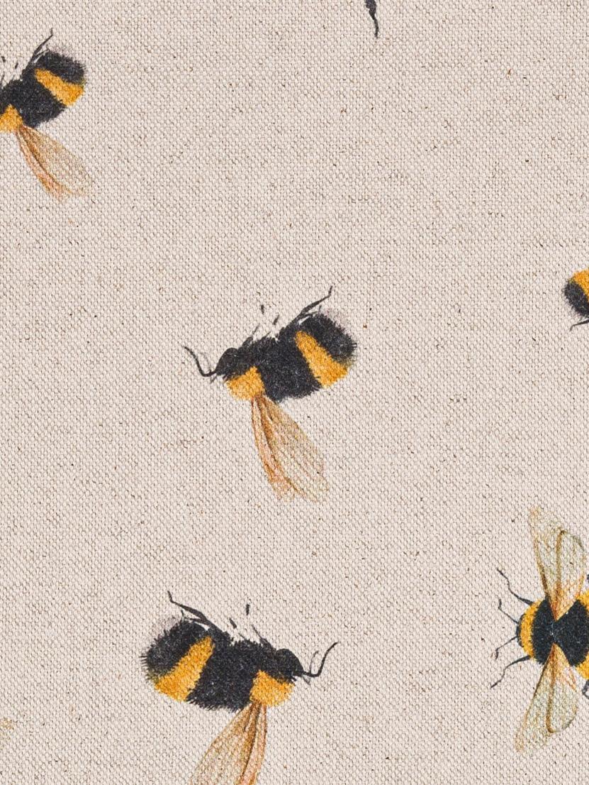 Runner Biene, 85% cotone, 15% lino, Beige, giallo, nero, Larg. 40 x Lung. 145 cm