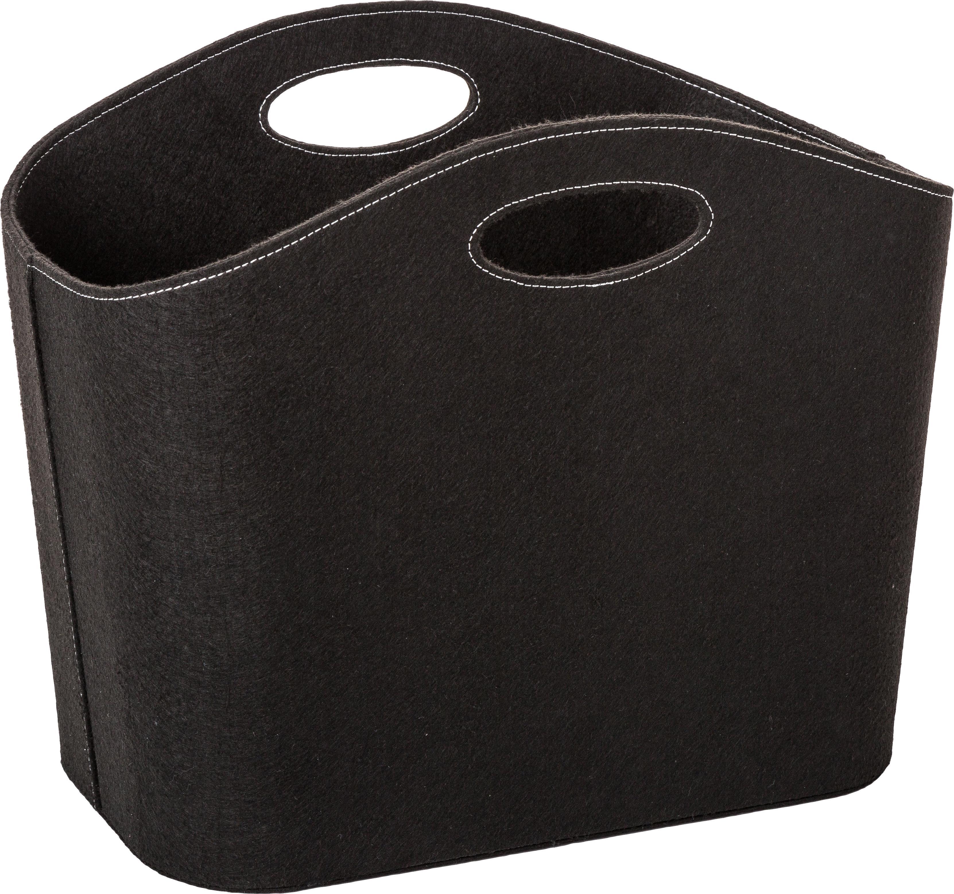 Aufbewahrungskorb Mascha, Filz aus recyceltem Kunststoff, Schwarz, 30 x 45 cm
