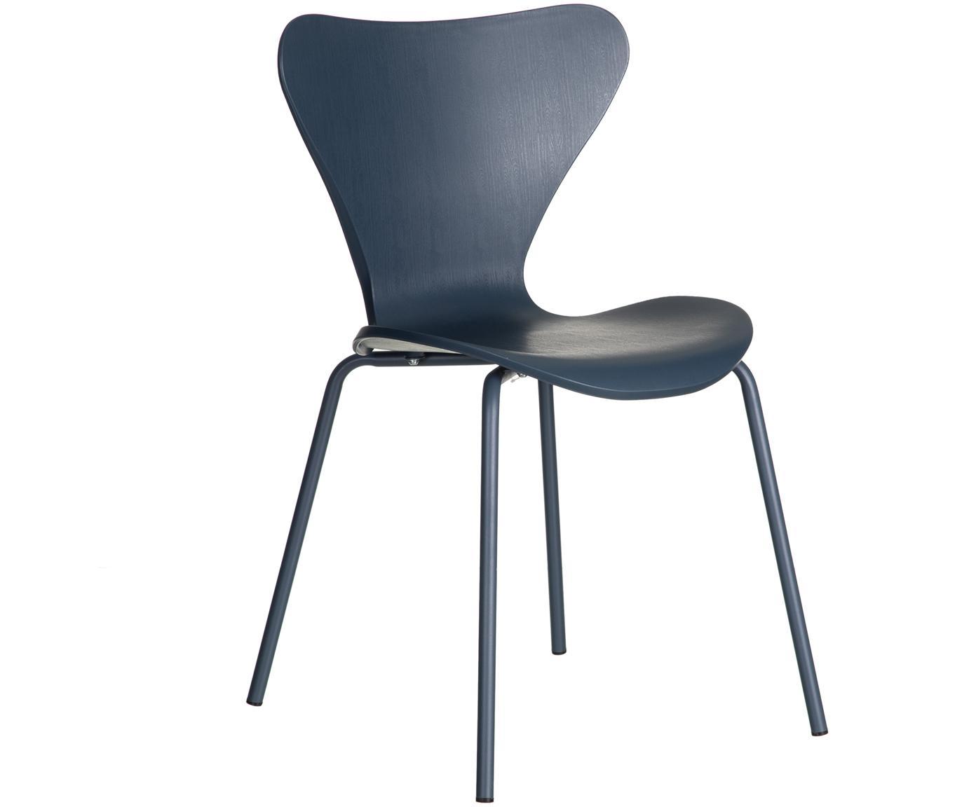 Stapelbare Kunststoffstühle Pippi, 2 Stück, Sitzfläche: Polypropylen, Beine: Metall, beschichtet, Blau, B 47 x T 50 cm