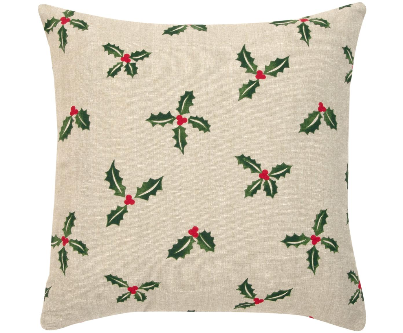 Poszewka na poduszkę Berry, 100% bawełna, Beżowy, zielony, S 45 x D 45 cm