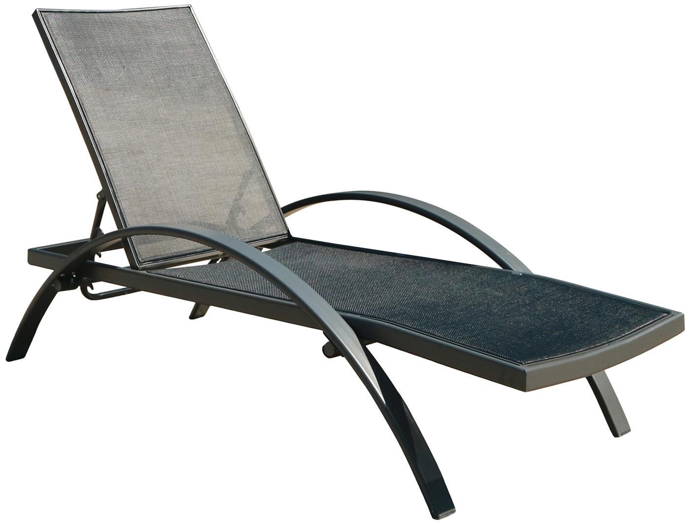 Tumbona de jardín Eddy, Estructura: aluminio, Superficie: Textilene, Gris antracita, negro, L 198 x An 65 cm