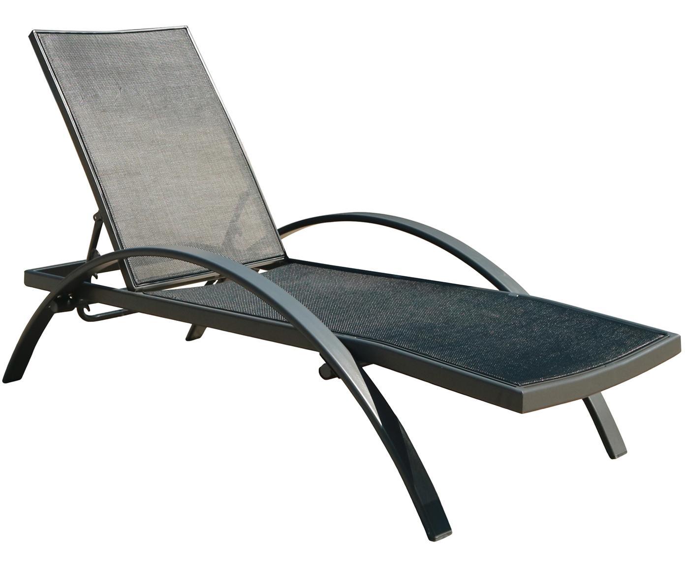 Zonnebed Eddy, Aluminium, textiel, Antraciet, zwart, 65 x 32 cm
