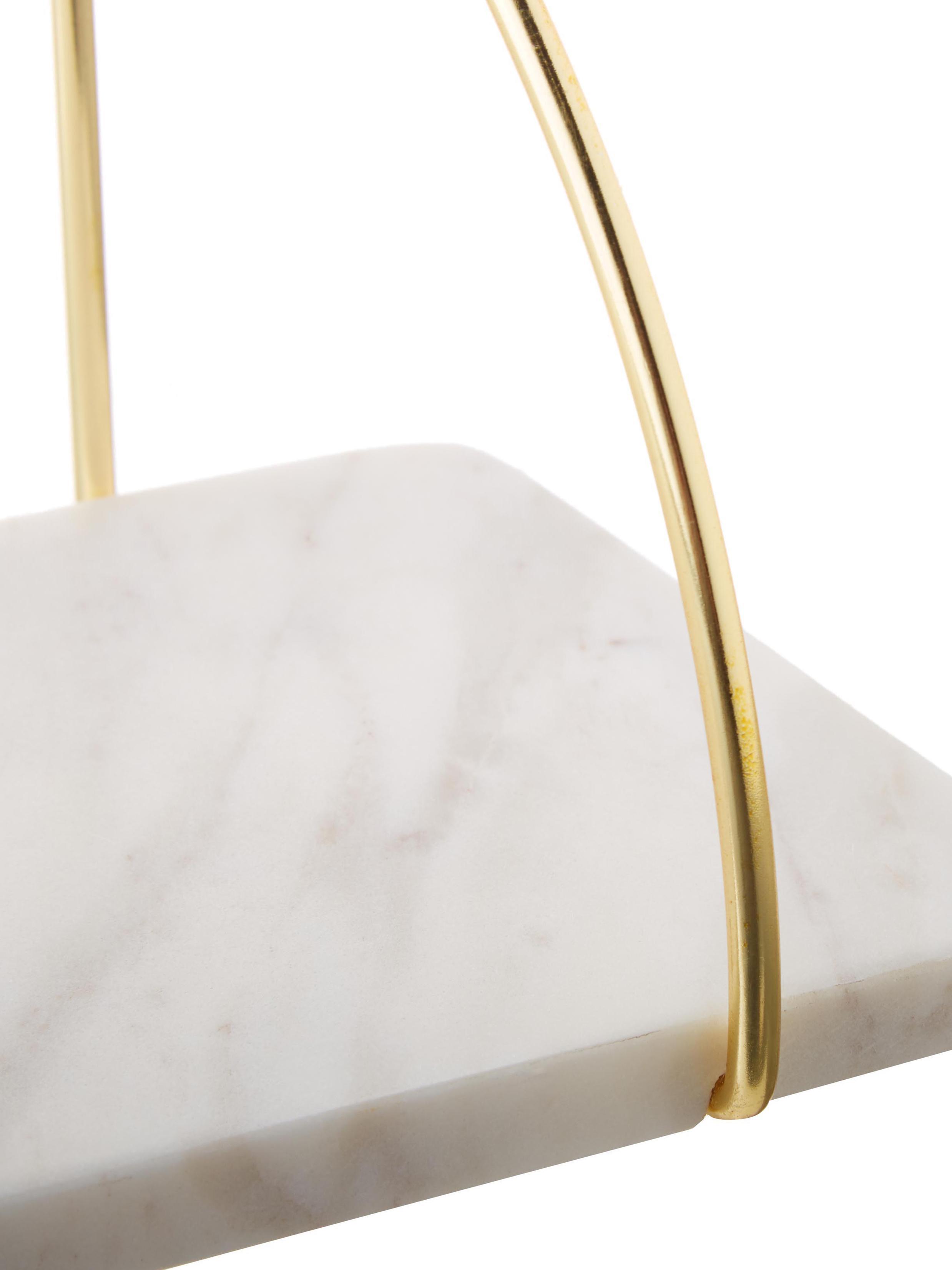 Marmor-Wandregal Porter, Regalboden: Marmor, Wandhalterung: Goldfarben Regal: Weiß, marmoriert, 40 x 18 cm