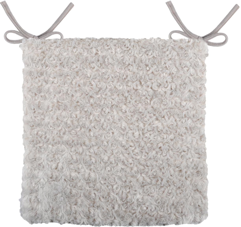 Pluizig stoelkussen Alban, Polyester, Lichtgrijs, 40 x 40 cm