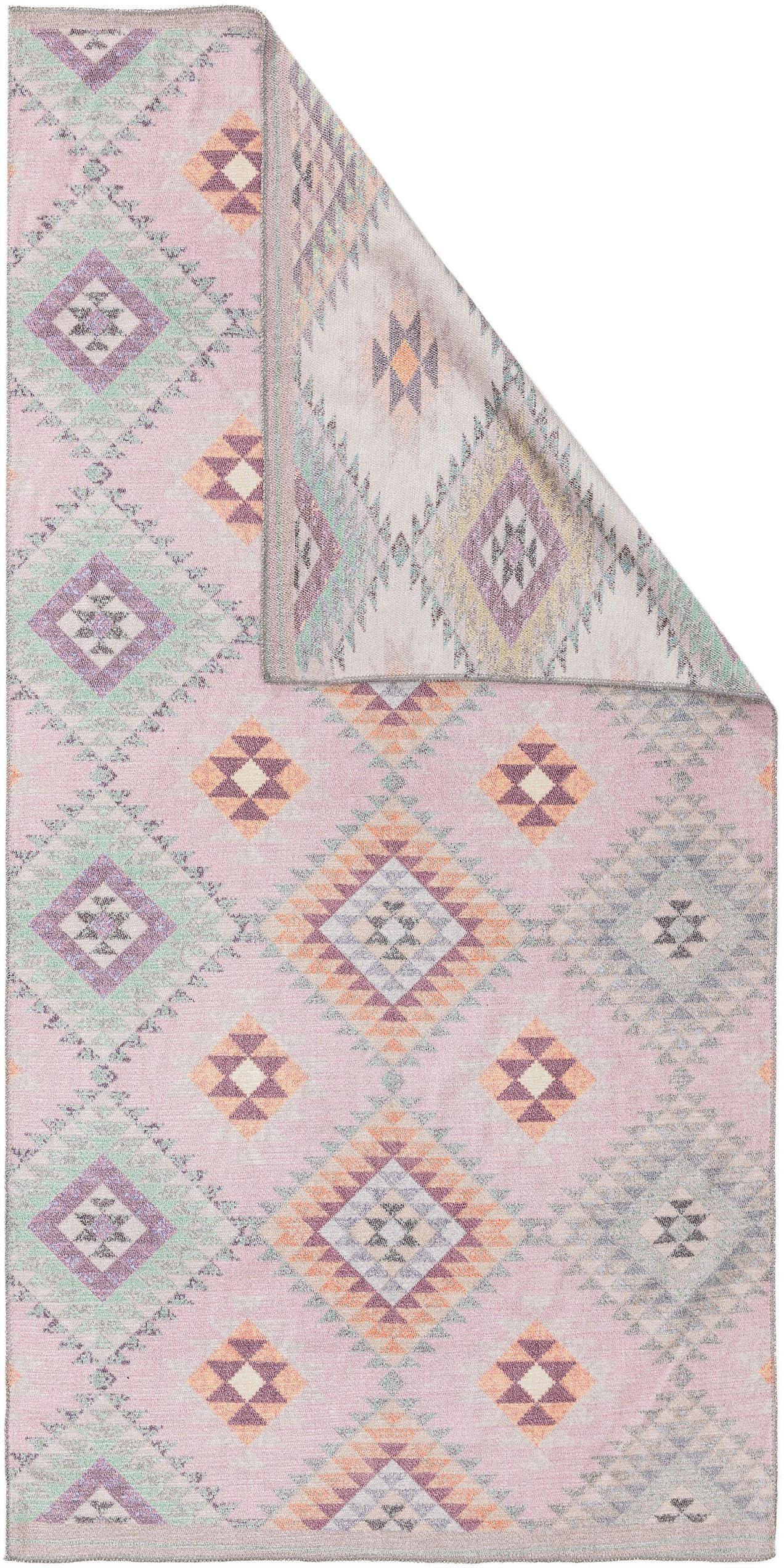 Dubbelzijdig vloerkleed Kelim Ana met ethnopatroon in rozetinten, 80% polyester 20% katoen, Roze, multicolour, B 75 x L 150 cm (maat XS)