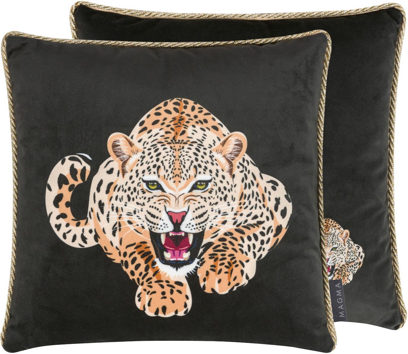 Dwustronna poszewka na poduszkę z aksamitu Deluxe Leo, 100% aksamit poliestrowy, nadruk, Czarny, brązowy, biały, odcienie złotego, S 40 x D 40 cm