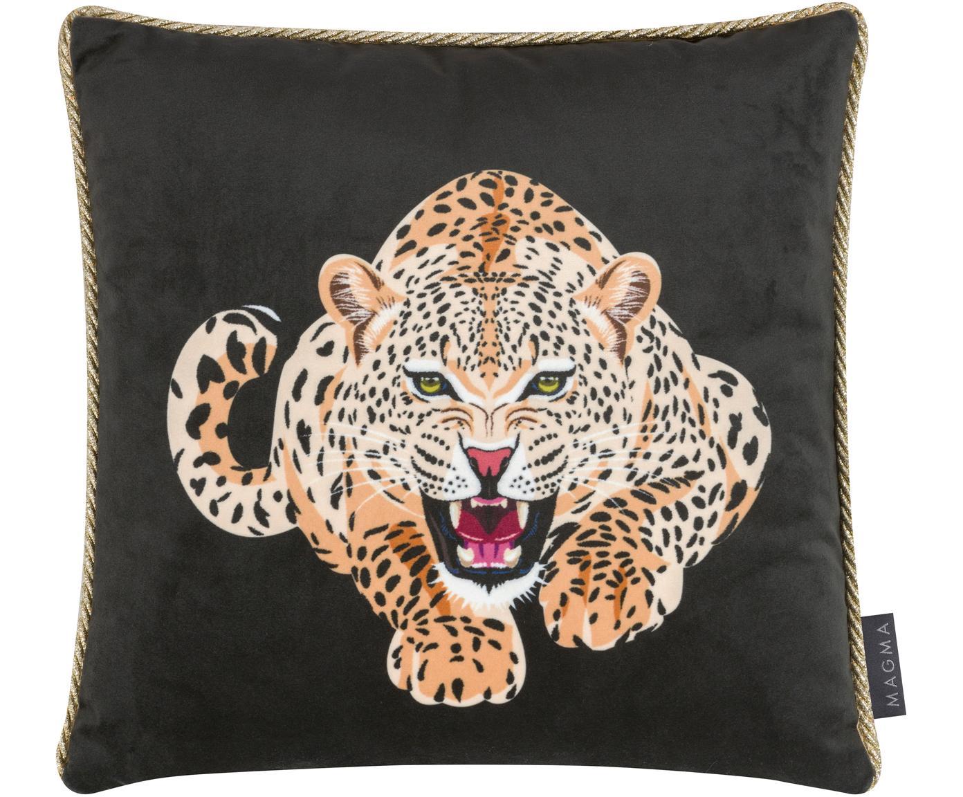 Dubbelzijdige fluwelen kussenhoes Deluxe Leo, Bedrukt polyester fluweel, Zwart, bruin, wit, goudkleurig, 40 x 40 cm