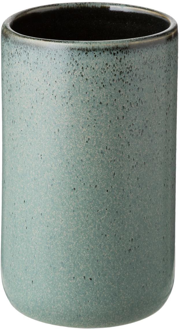 Porta spazzolini in ceramica Mila, Ceramica, smaltata, Verde grigio, Ø 7 x Alt. 12 cm