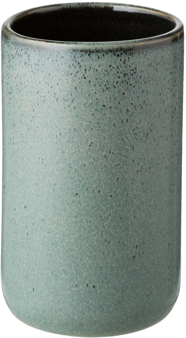 Tandenborstelbeker Mila, Geglazuurd keramiek, Grijsgroen, Ø 10 x H 12 cm
