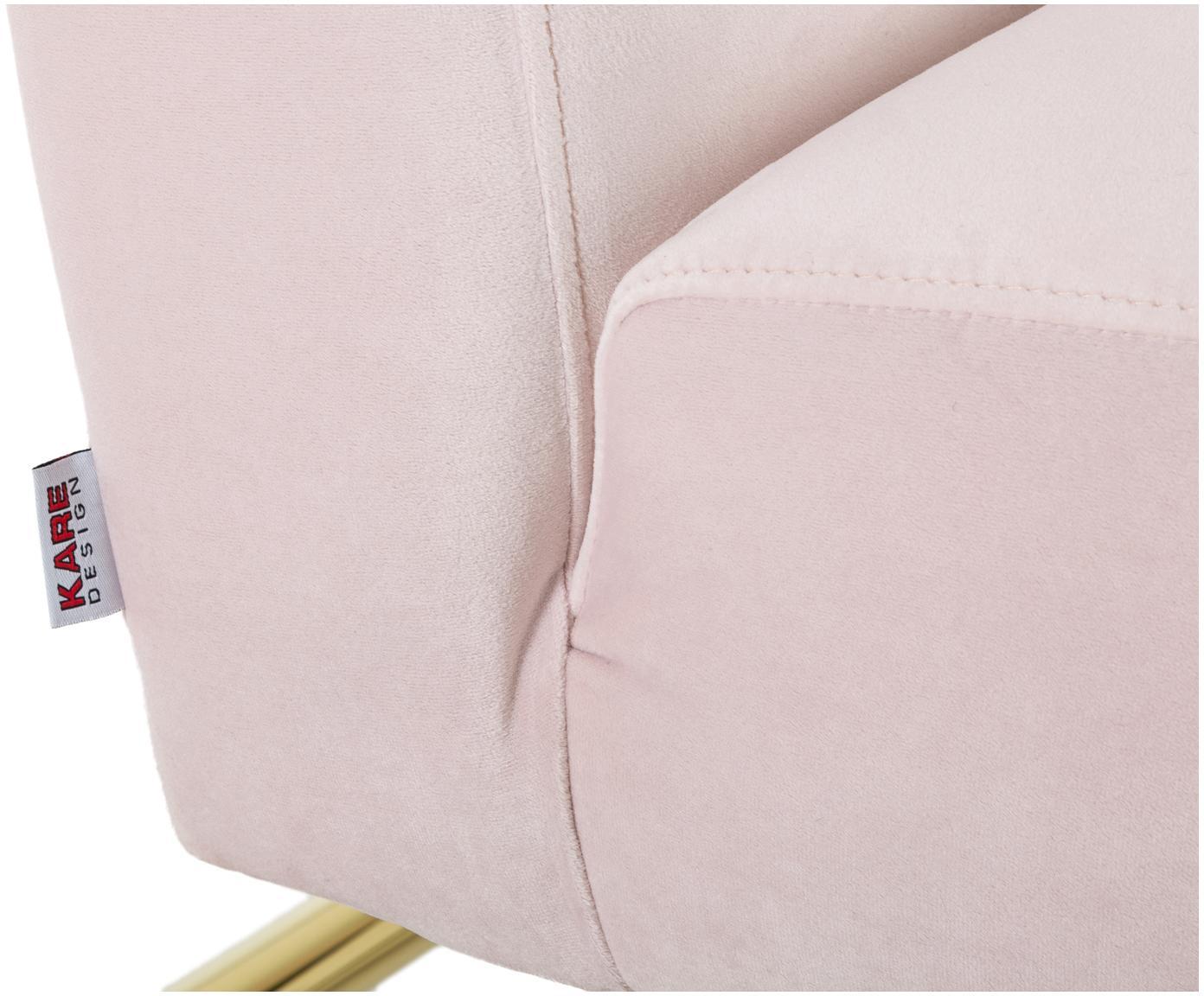 Fotel z aksamitu Vegas, Tapicerka: poliester (aksamit), Stelaż: stal szlachetna , szczotk, Blady różowy, S 70 x G 86 cm