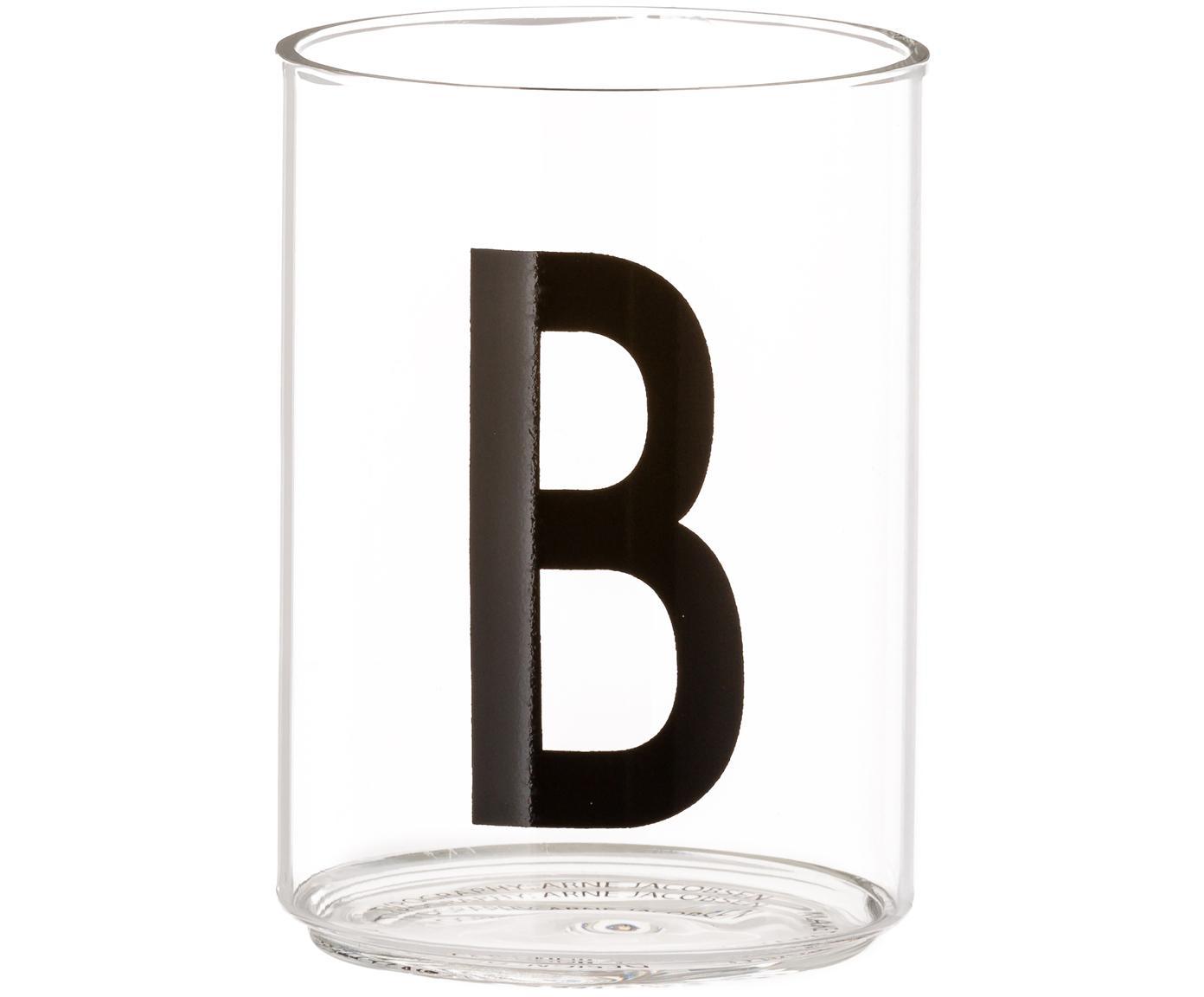 Waterglas Personal met designletters (varianten van A tot Z), Borosilicaatglas, Transparant, zwart, Waterglas B
