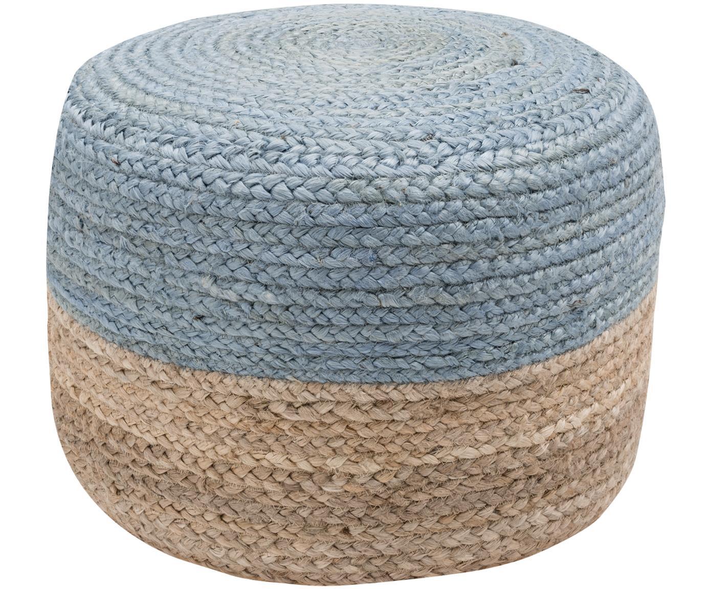 Pouf in juta fatto a mano Bono, Rivestimento: iuta, Iuta, grigio-blu, Ø 50 x Alt. 36 cm