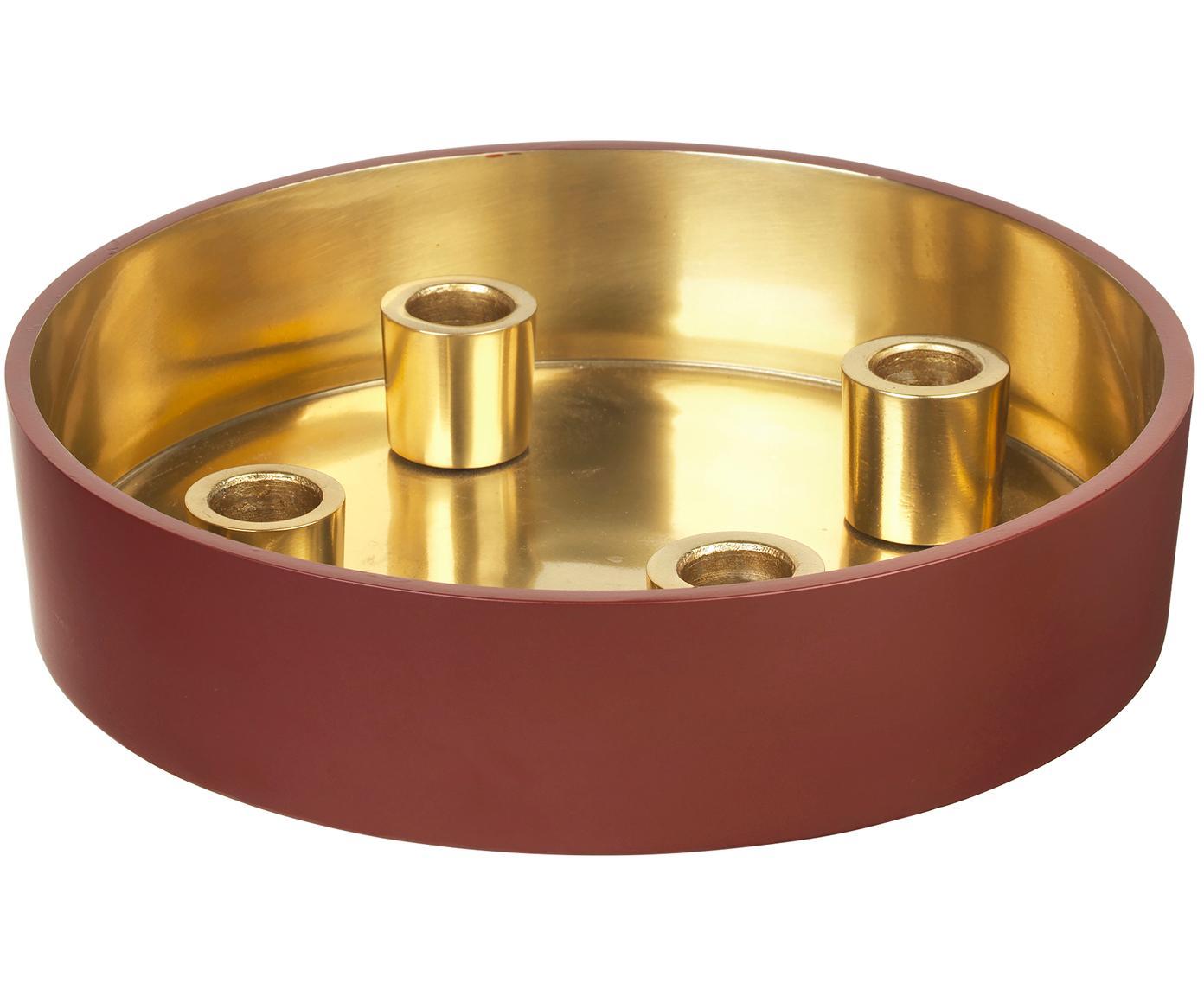 Kaarsenhouder Palma, Geëmailleerd aluminium, Buitenzijde: donker roestrood. Binnenzijde: goudkleurig, Ø 23 x H 6 cm
