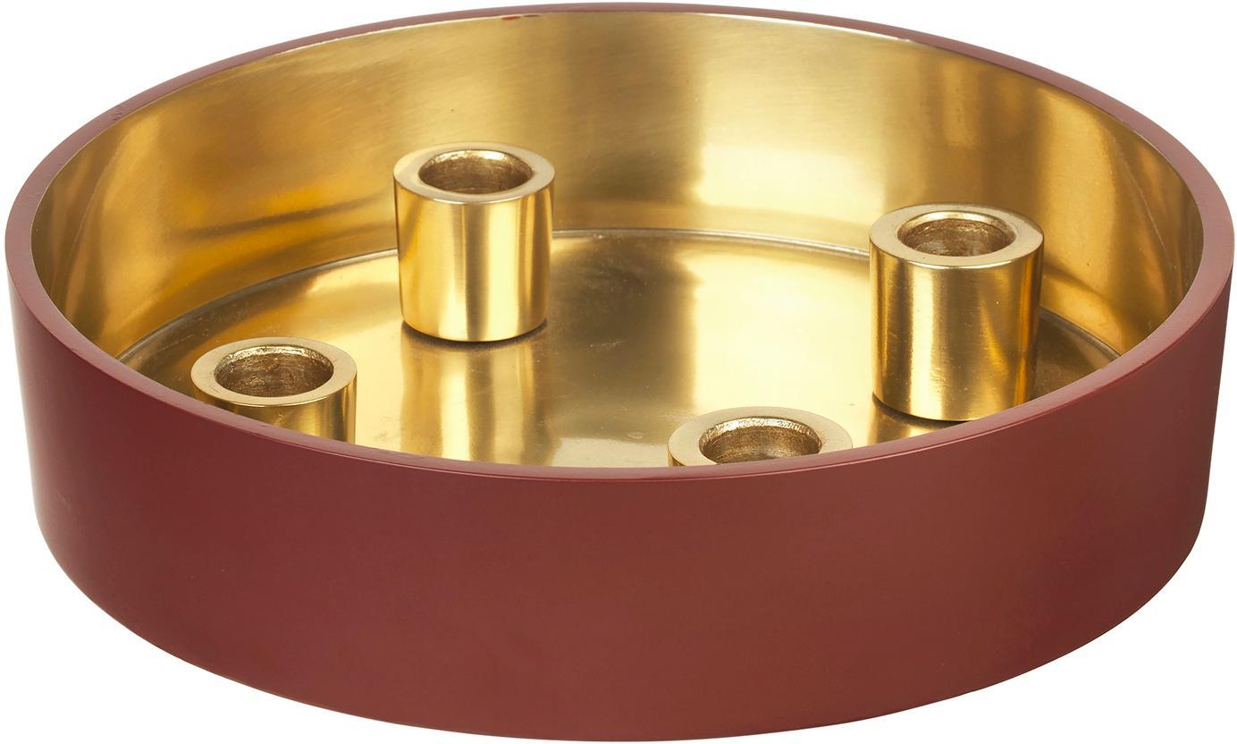 Kerzenständer Palma, Aluminium, emailliert, Aussen: Dunkles RostrotInnen: Goldfarben, Ø 23 x H 6 cm