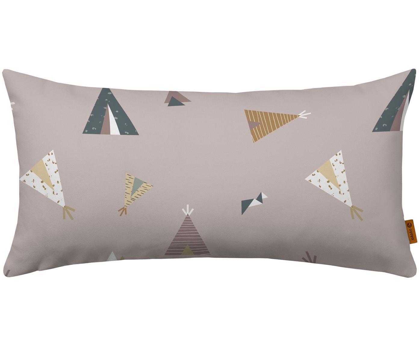 Cuscino in cotone imbottito Teepee, Rivestimento: cotone, Rosa, multicolore, Larg. 30 x Lung. 60 cm